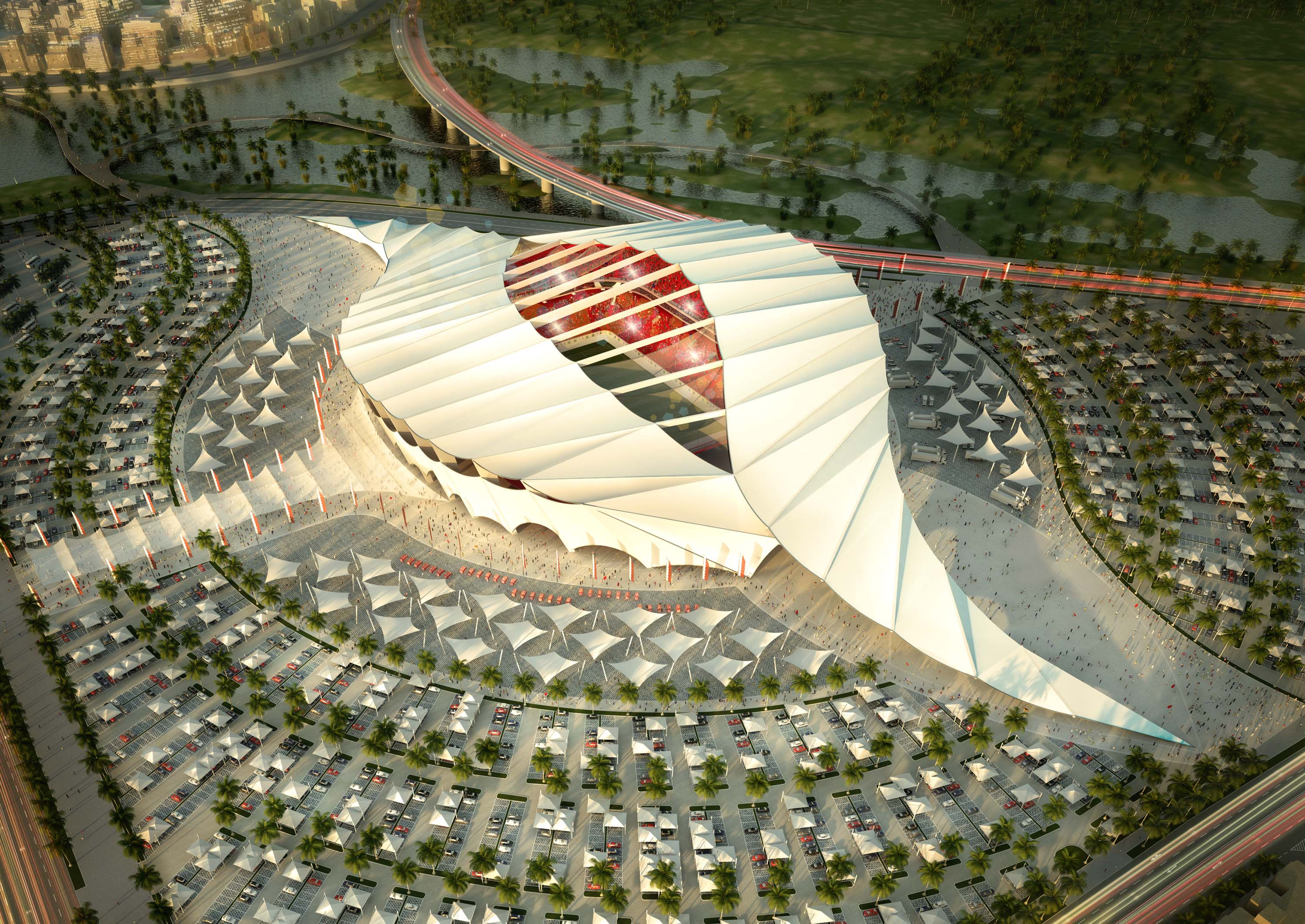 DOHA, QATAR - UNDATED:   In this handout image supplied by Qatar 2022  The Al-Khor stadium is pictured in this artists impression as Qatar 2022 World Cup bid unveils it's stadiums on September 16, 2010 in Doha, Qatar.  (Photo by Qatar 2022 via Getty Image
