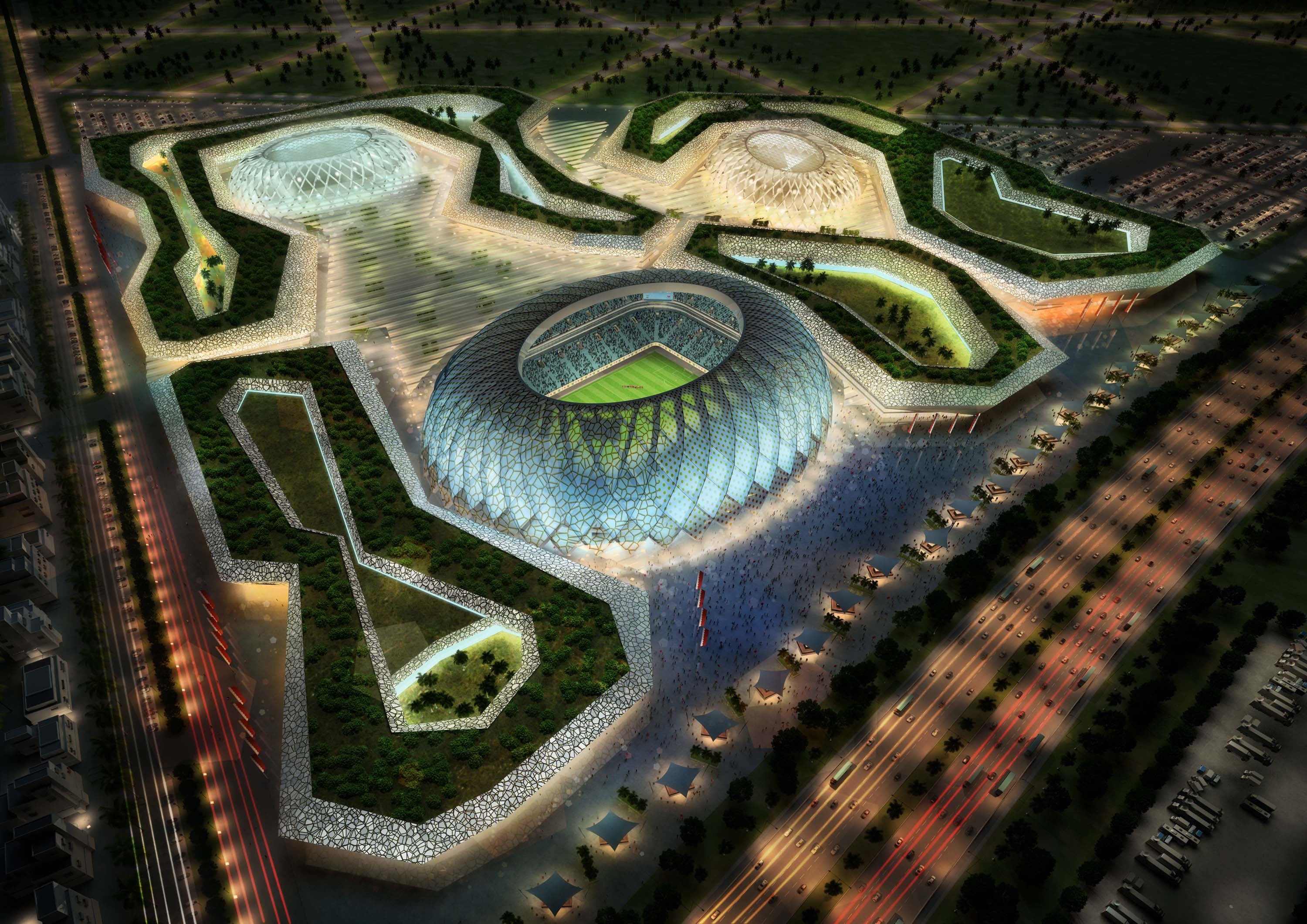 DOHA, QATAR - UNDATED:   In this handout image supplied by Qatar 2022  The Al-Wakrah stadium complex is pictured in this artists impression as Qatar 2022 World Cup bid unveils it's stadiums on September 16, 2010 in Doha, Qatar.  (Photo by Qatar 2022 via G