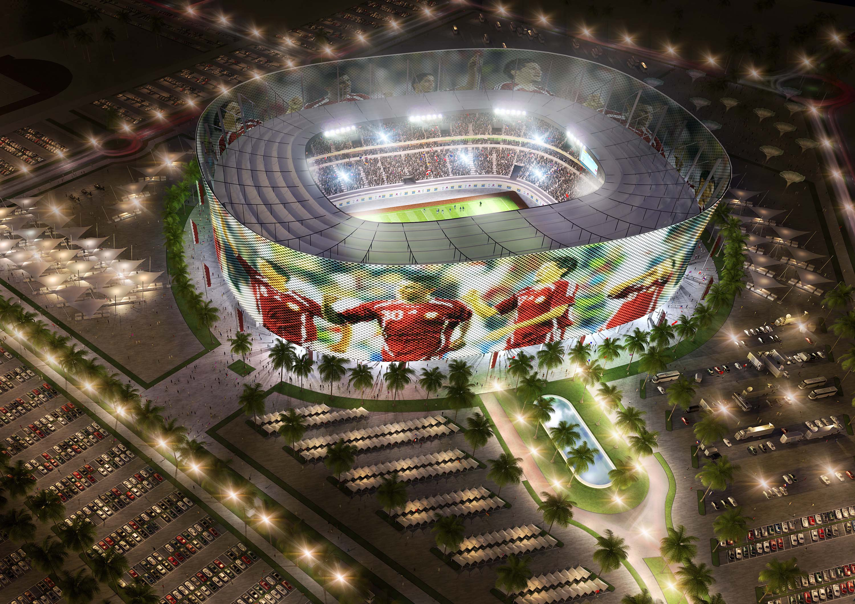 DOHA, QATAR - UNDATED:   In this handout image supplied by Qatar 2022  The Al-Rayyan stadium  is pictured in this artists impression as Qatar 2022 World Cup bid unveils it's stadiums on September 16, 2010 in Doha, Qatar. It has been designed to include a