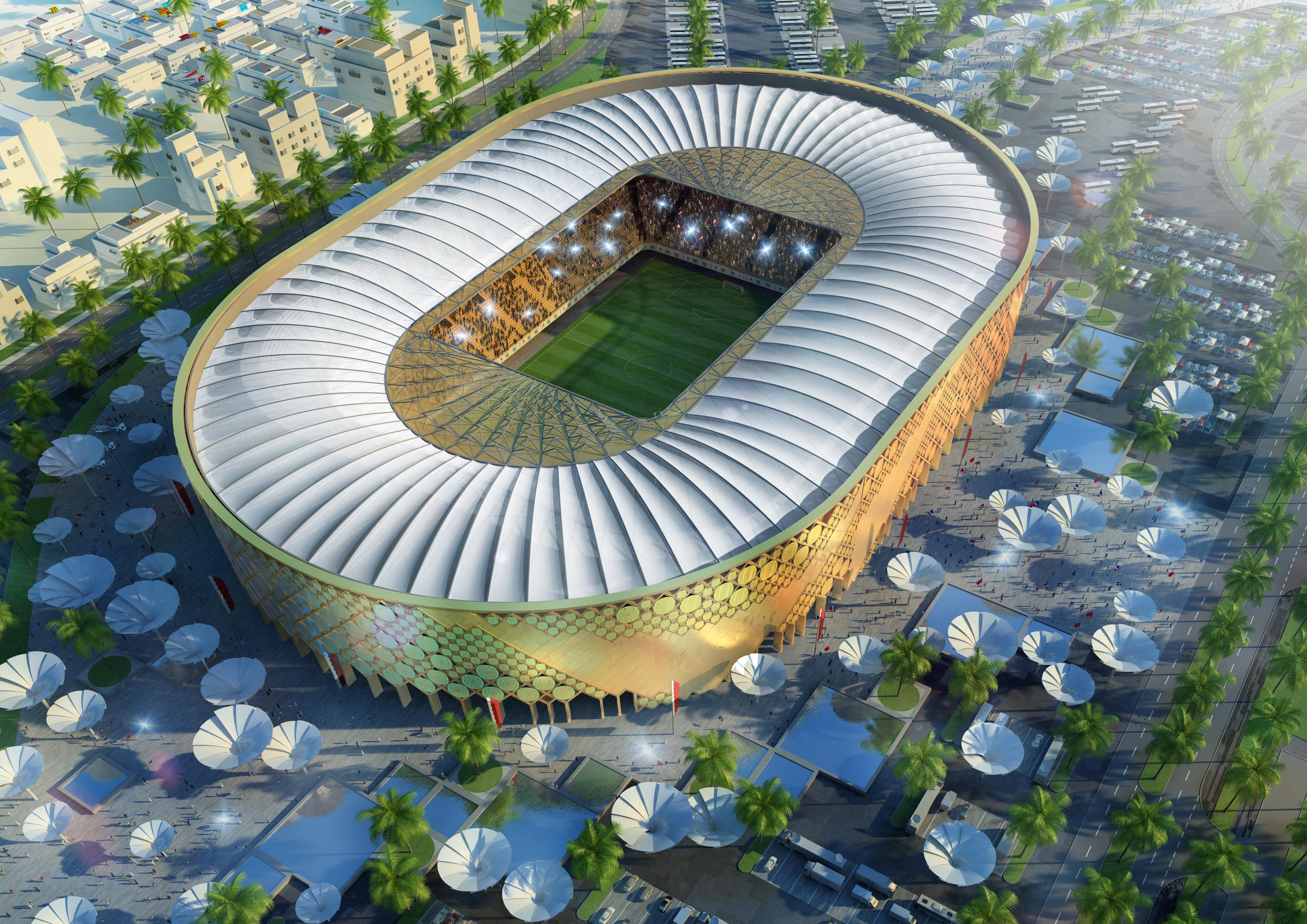 DOHA, QATAR - UNDATED:   In this handout image supplied by Qatar 2022  The Qatar University stadium is pictured in this artists impression as Qatar 2022 World Cup bid unveils it's stadiums on September 16, 2010 in Doha, Qatar.  (Photo by Qatar 2022 via Ge