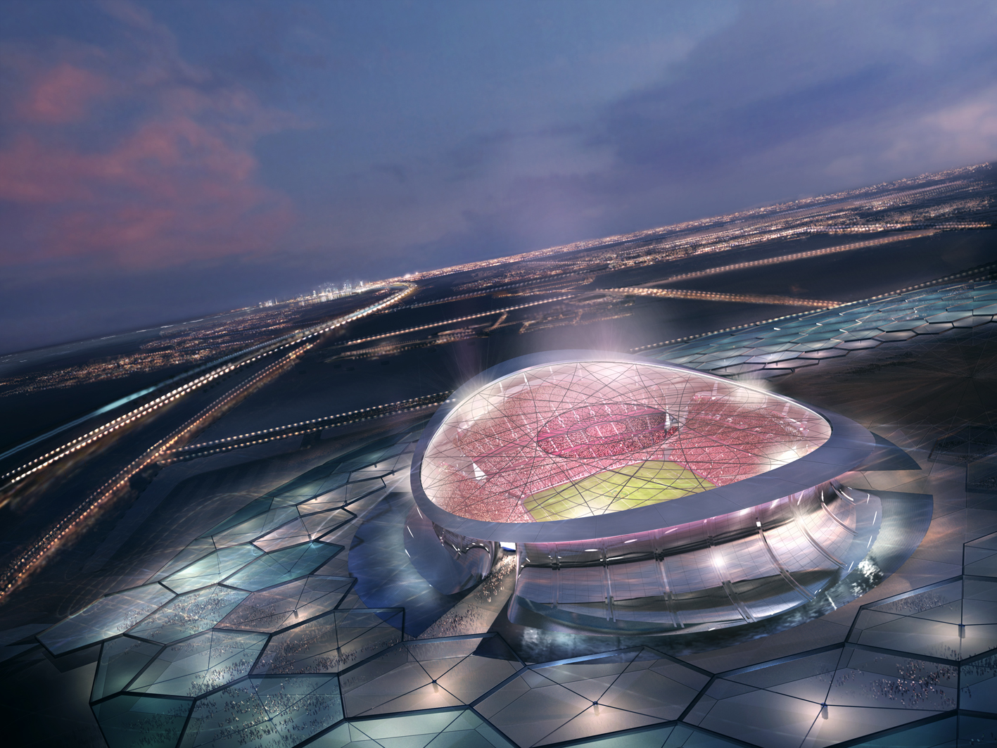 LUSAIL CITY, QATAR:  In this handout illustration provided by Qatar 2022, the Qatar 2022 Bid Committee today unveiled detailed plans for the iconic Lusail Stadium. With a capacity in excess of 86,000 and surrounded by water,  the stadium would host the Wo