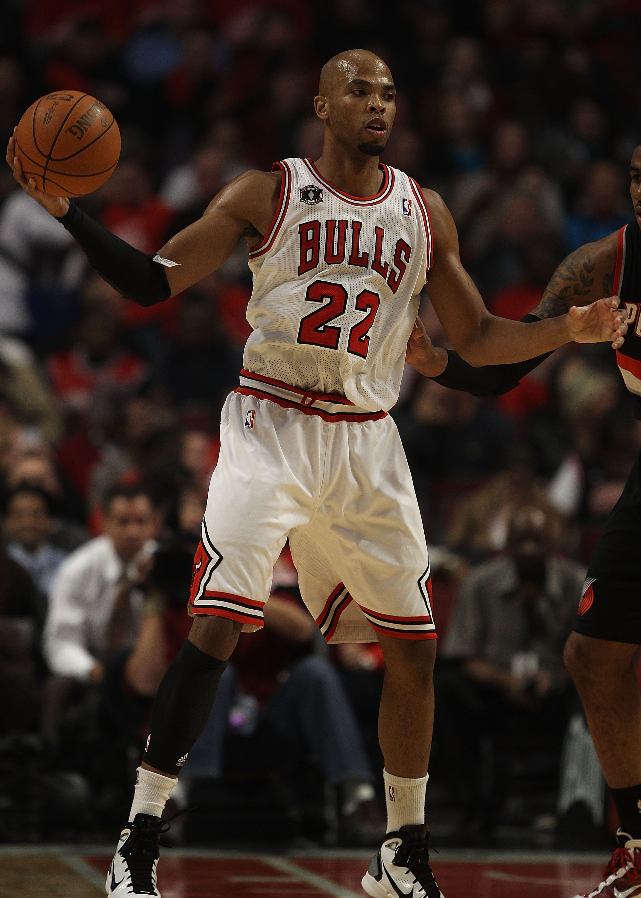 CHICAGO - NOVEMBER 01: Taj Gibson #22 of the Chicago Bulls looks to pass against the Portland Trail Blazers at the United Center on November 1, 2010 in Chicago, Illinois. The Bulls defeated the Trail Blazers 110-98. NOTE TO USER: User expressly acknowledg