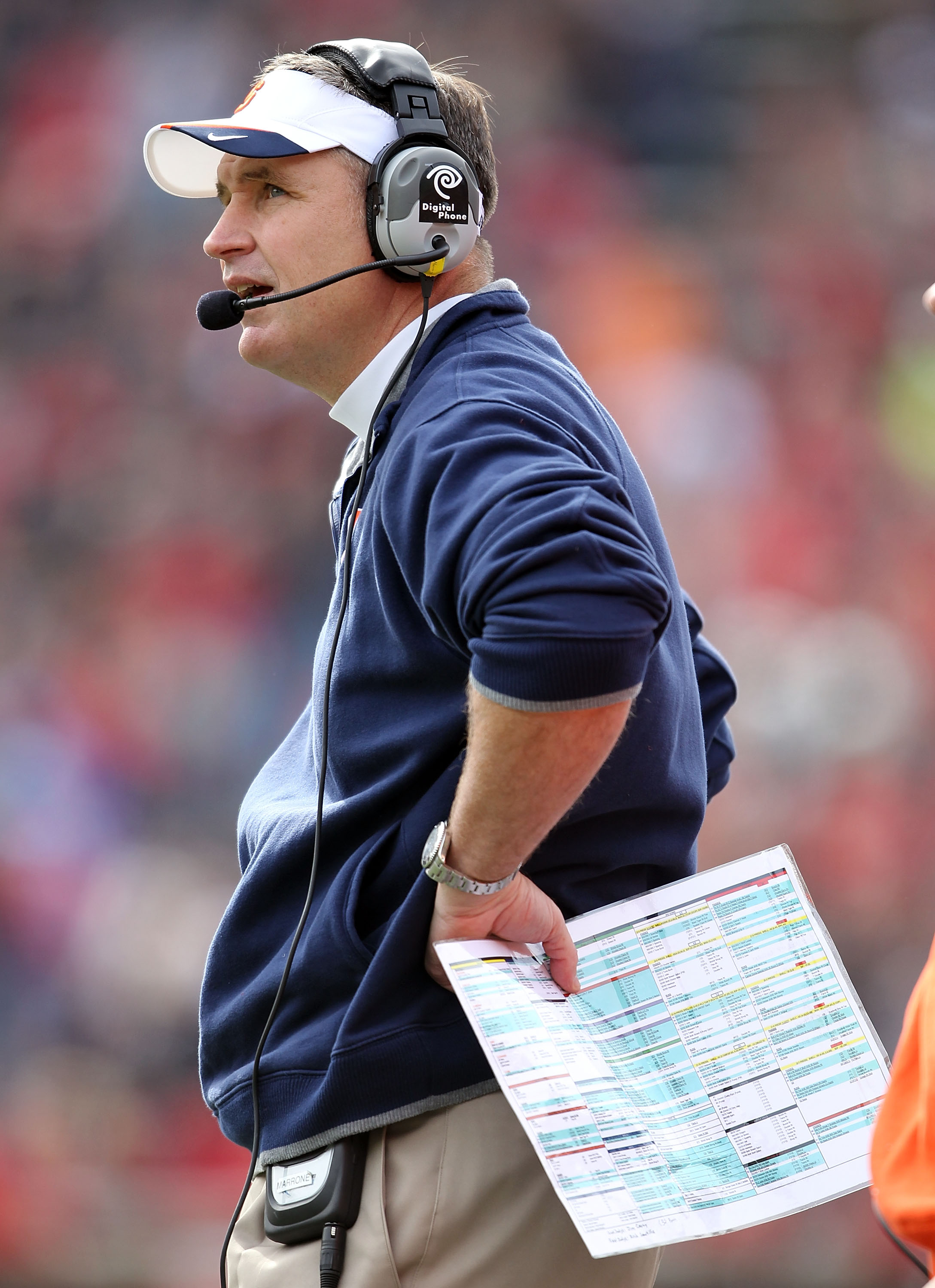 CINCINNATI - OCTOBER 30:  Doug Marrone the Head Coach of the Syracuse Orange gives instructions to his team during the Big East Conference game against the Cincinnati Bearcats at Nippert Stadium on October 30, 2010 in Cincinnati, Ohio.  (Photo by Andy Lyo