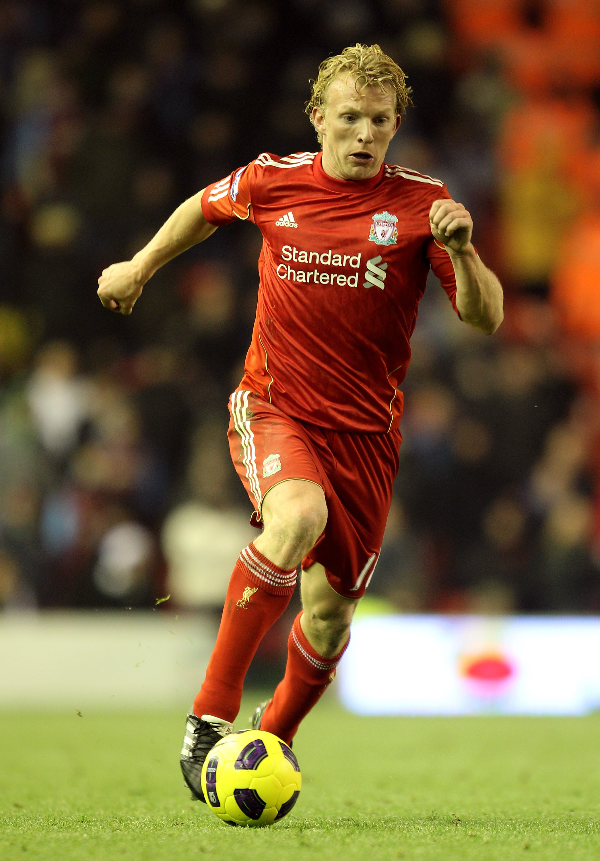LIVERPOOL, ENGLAND - DECEMBER 06:  Dirk Kuyt of Liverpool in action during the Barclays Premier League match between Liverpool and Aston Villa at Anfield on December 6, 2010 in Liverpool, England. (Photo by Mark Thompson/Getty Images)