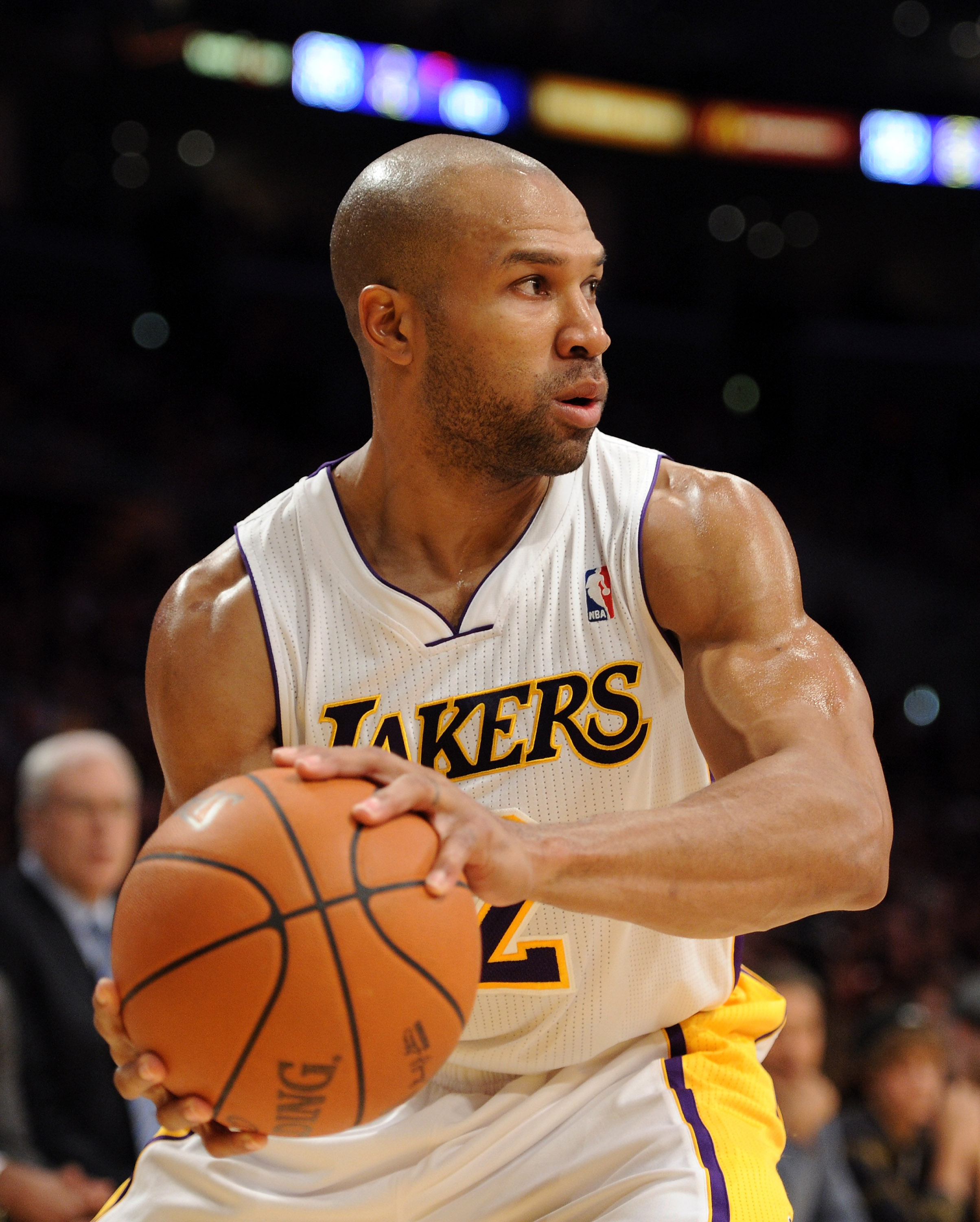 LOS ANGELES, CA - NOVEMBER 07:  Derek Fisher #2 of the Los Angeles Lakers grabs a rebound against the Portland Trail Blazers at the Staples Center on November 7, 2010 in Los Angeles, California.  NOTE TO USER: User expressly acknowledges and agrees that,
