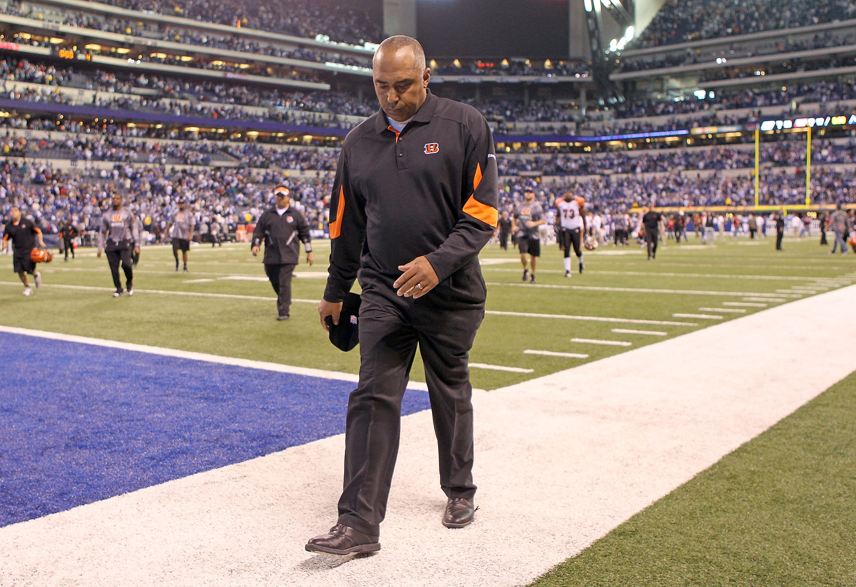 INDIANAPOLIS - NOVEMBER 14:  Marvin Lewis the Head Coach of the Cincinnati Bengals walks off of the field following the Bengals 23-17 loss to the Indianapolis Colts in the NFL game at Lucas Oil Stadium on November 14, 2010 in Indianapolis, Indiana. The Co