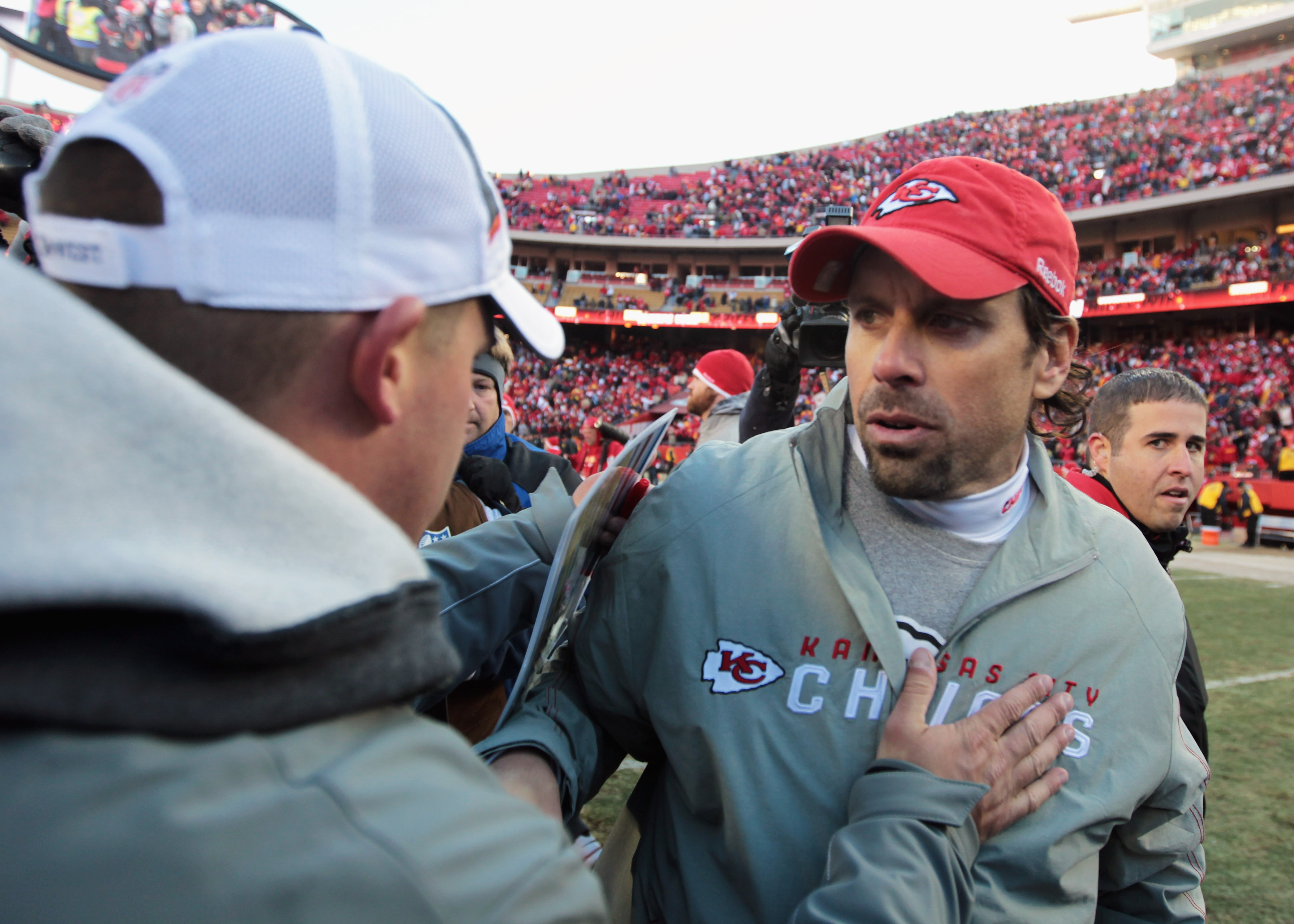 KANSAS CITY, MO - DECEMBER 05:  Head coach Todd Haley of the Kansas City Chiefs shakes hands with head coach Josh McDaniels of the Denver Broncos following the game on December 5, 2010 at Arrowhead Stadium in Kansas City, Missouri.  (Photo by Jamie Squire