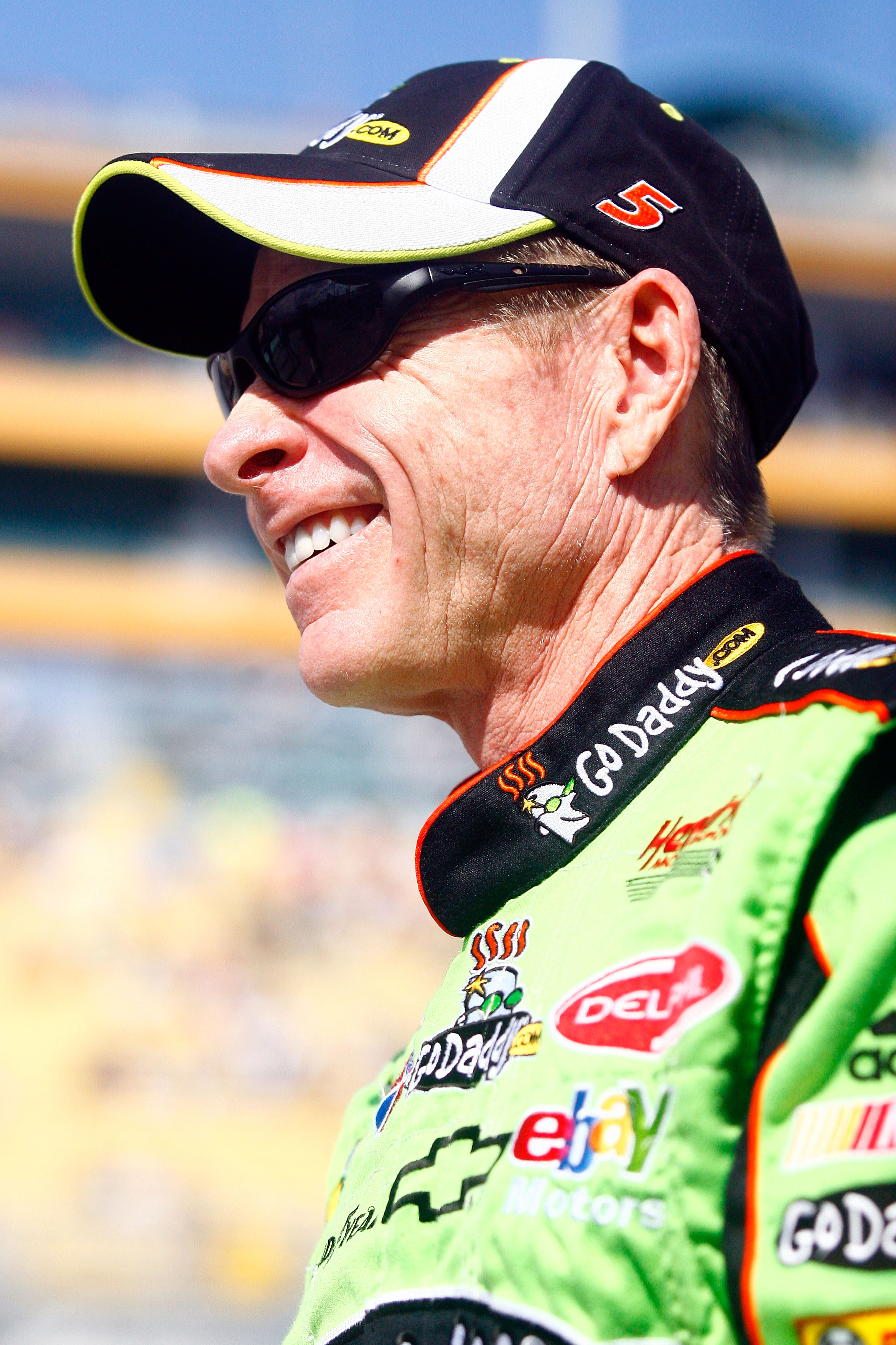 HOMESTEAD, FL - NOVEMBER 21:  Mark Martin, driver of the #5 GoDaddy.com Chevrolet, stands on pit road prior to the NASCAR Sprint Cup Series Ford 400 at Homestead-Miami Speedway on November 21, 2010 in Homestead, Florida.  (Photo by Jason Smith/Getty Image