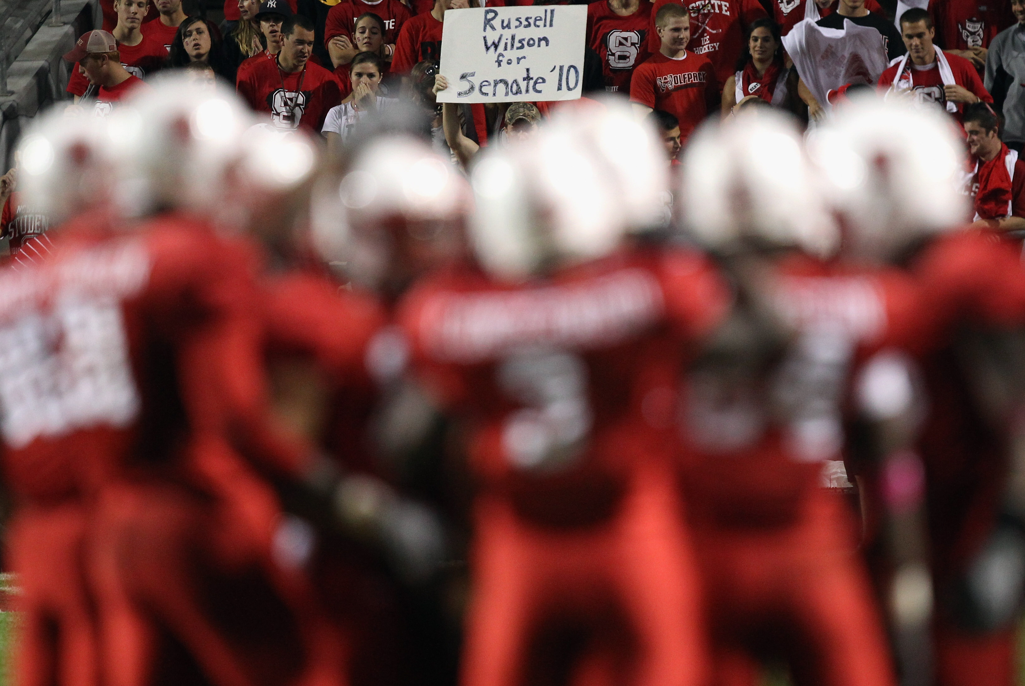 RALEIGH, NC - OCTOBER 28:  A sign for Russell Wilson #16 of the North Carolina State Wolfpack against the Florida State Seminoles during their game at Carter-Finley Stadium on October 28, 2010 in Raleigh, North Carolina.  (Photo by Streeter Lecka/Getty Im