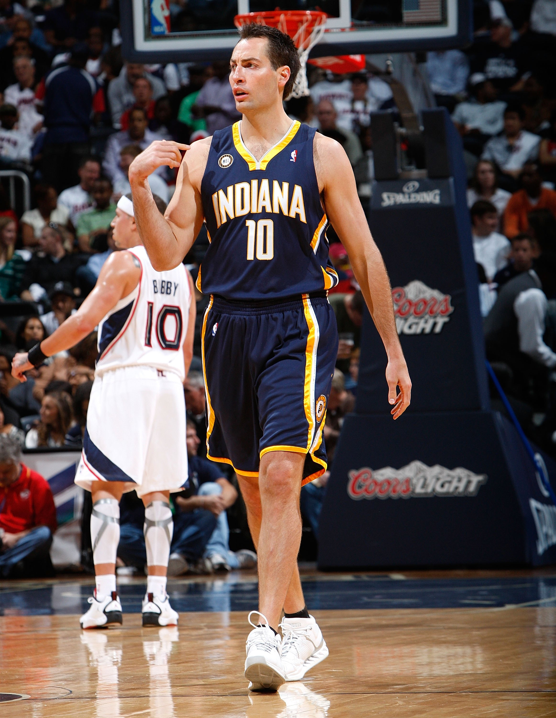 ATLANTA - OCTOBER 28:  Jeff Foster #10 of the Indiana Pacers against the Atlanta Hawks at Philips Arena on October 28, 2009 in Atlanta, Georgia.  (Photo by Kevin C. Cox/Getty Images)