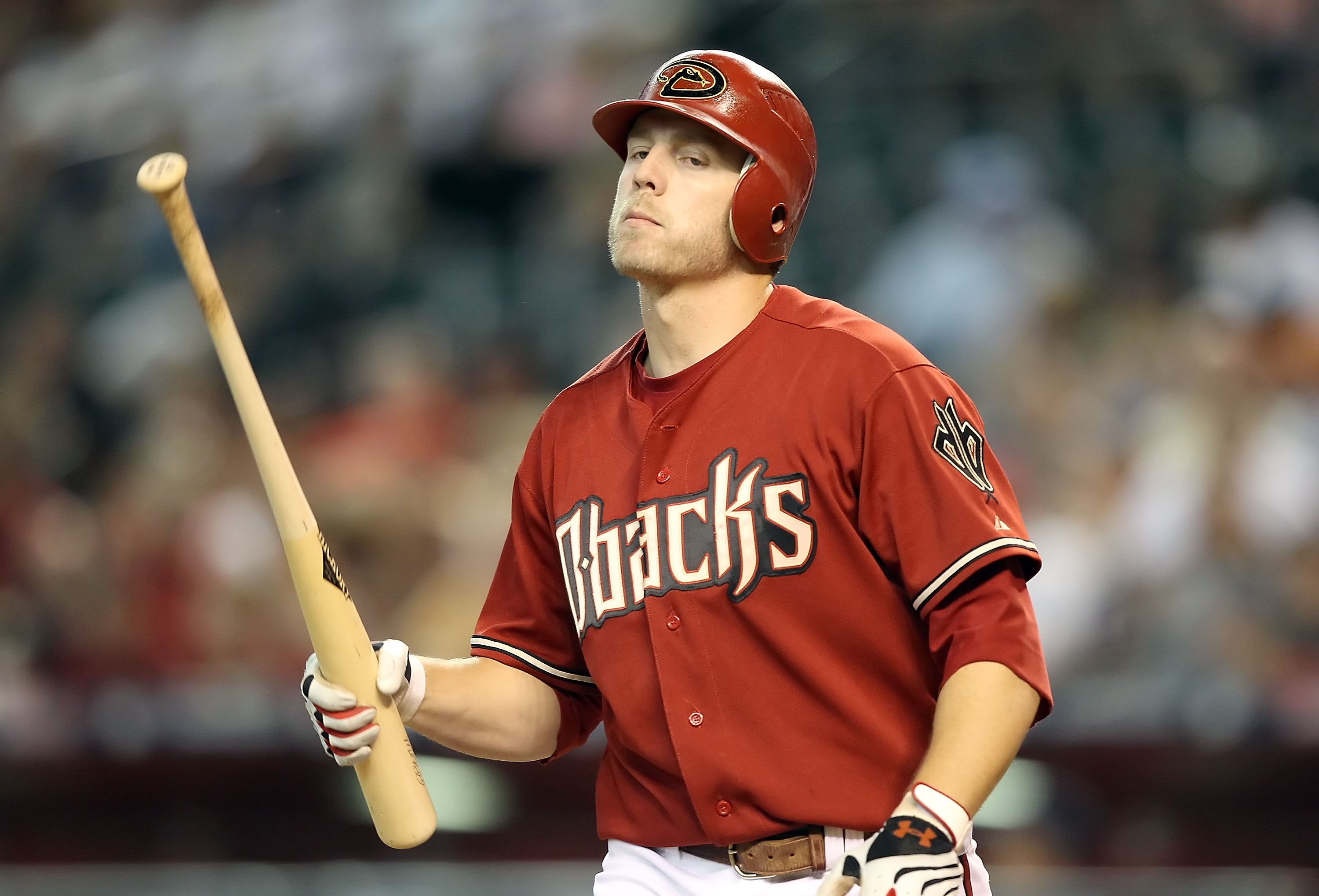 PHOENIX - JUNE 13:  Mark Reynolds #27 of the Arizona Diamondbacks reacts after striking out against the St. Louis Cardinals during the Major League Baseball game at Chase Field on June 13, 2010 in Phoenix, Arizona.  The Diamondbacks defeated the Cardinals