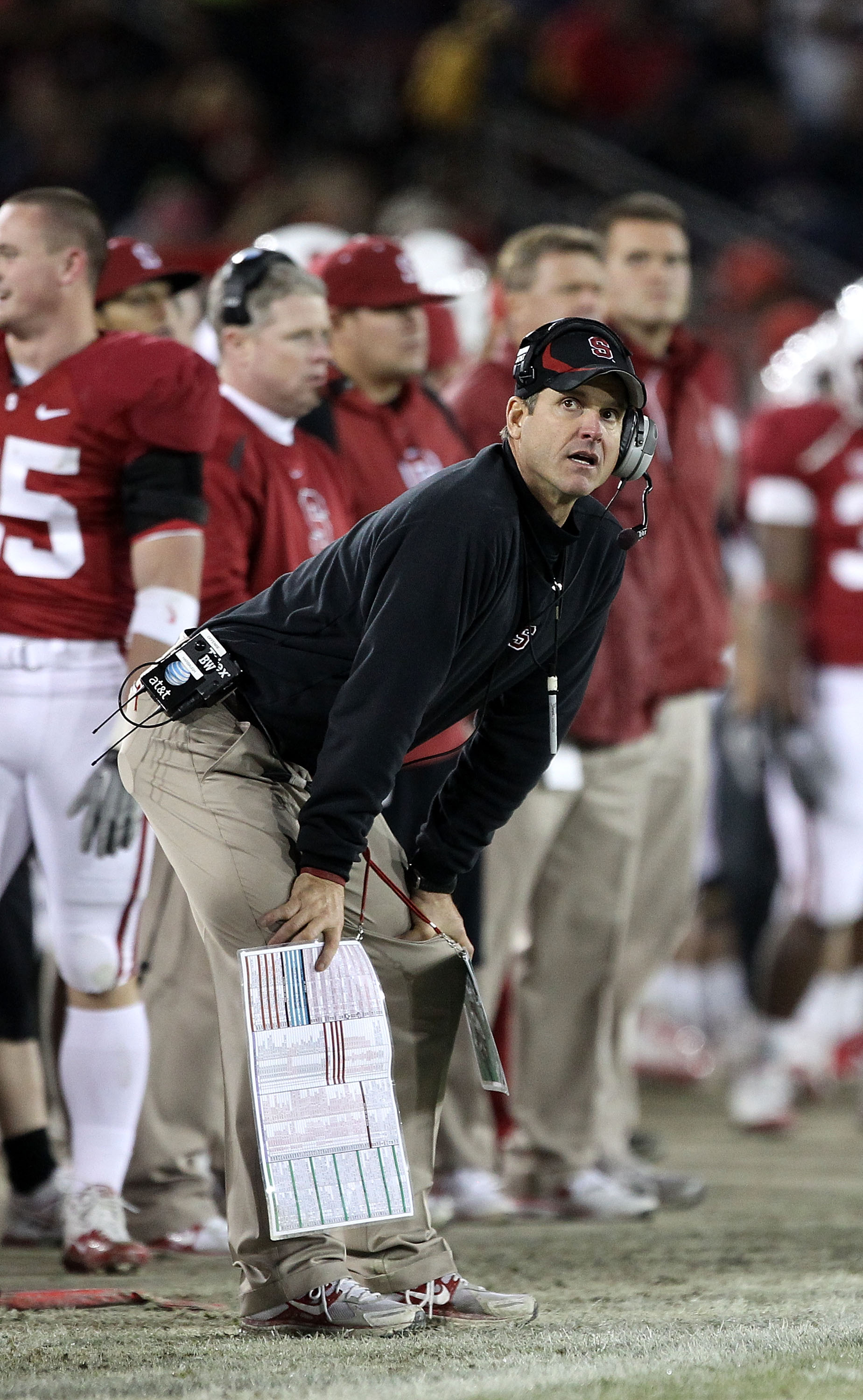 PALO ALTO, CA - NOVEMBER 27:  Head coach Jim Harbaugh of the Stanford Cardinal watches his team play the Oregon State Beavers at Stanford Stadium on November 27, 2010 in Palo Alto, California.  (Photo by Ezra Shaw/Getty Images)