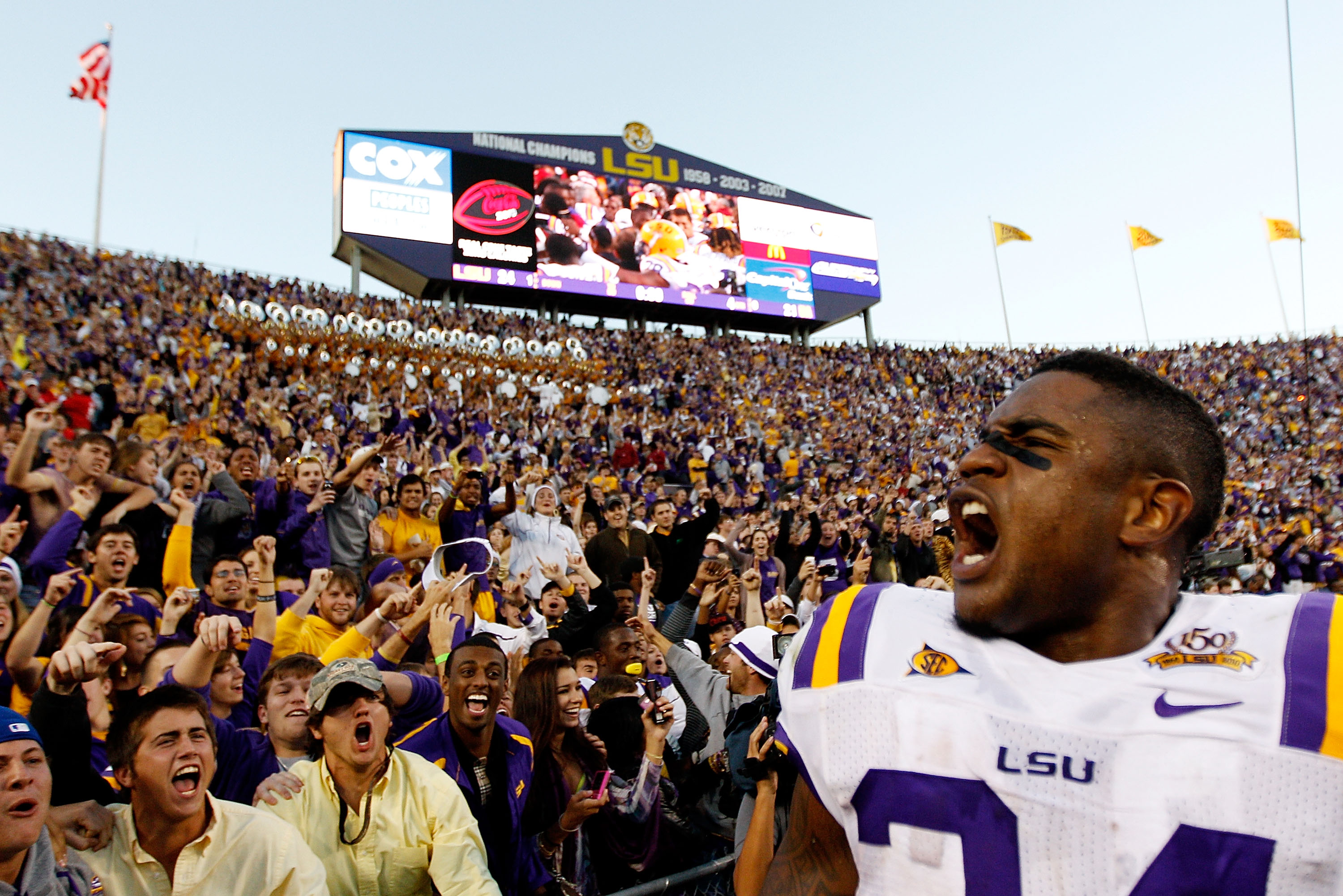 BATON ROUGE, LA - NOVEMBER 06:  Stevan Ridley #34 of the Louisiana State University Tigers celebrates after defeating the Alabama Crimson Tide 24-21  at Tiger Stadium on November 6, 2010 in Baton Rouge, Louisiana.  (Photo by Chris Graythen/Getty Images)