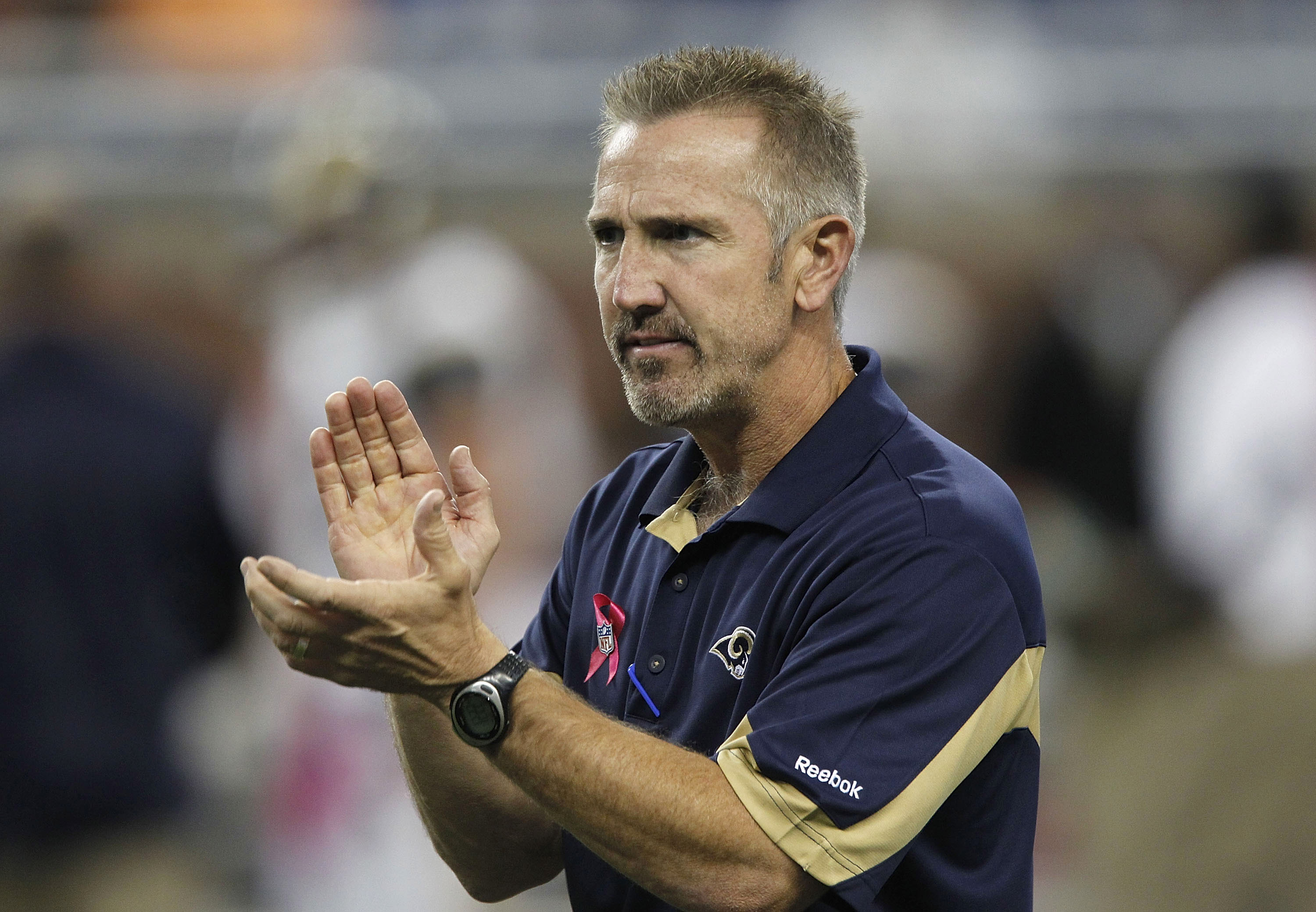 DETROIT - OCTOBER 10: St. Louis Rams head coach Steve Spagnuolo during the warms up prior to the start of the game against the Detroit Lions at Ford Field on October 10, 2010 in Detroit, Michigan.  (Photo by Leon Halip/Getty Images)