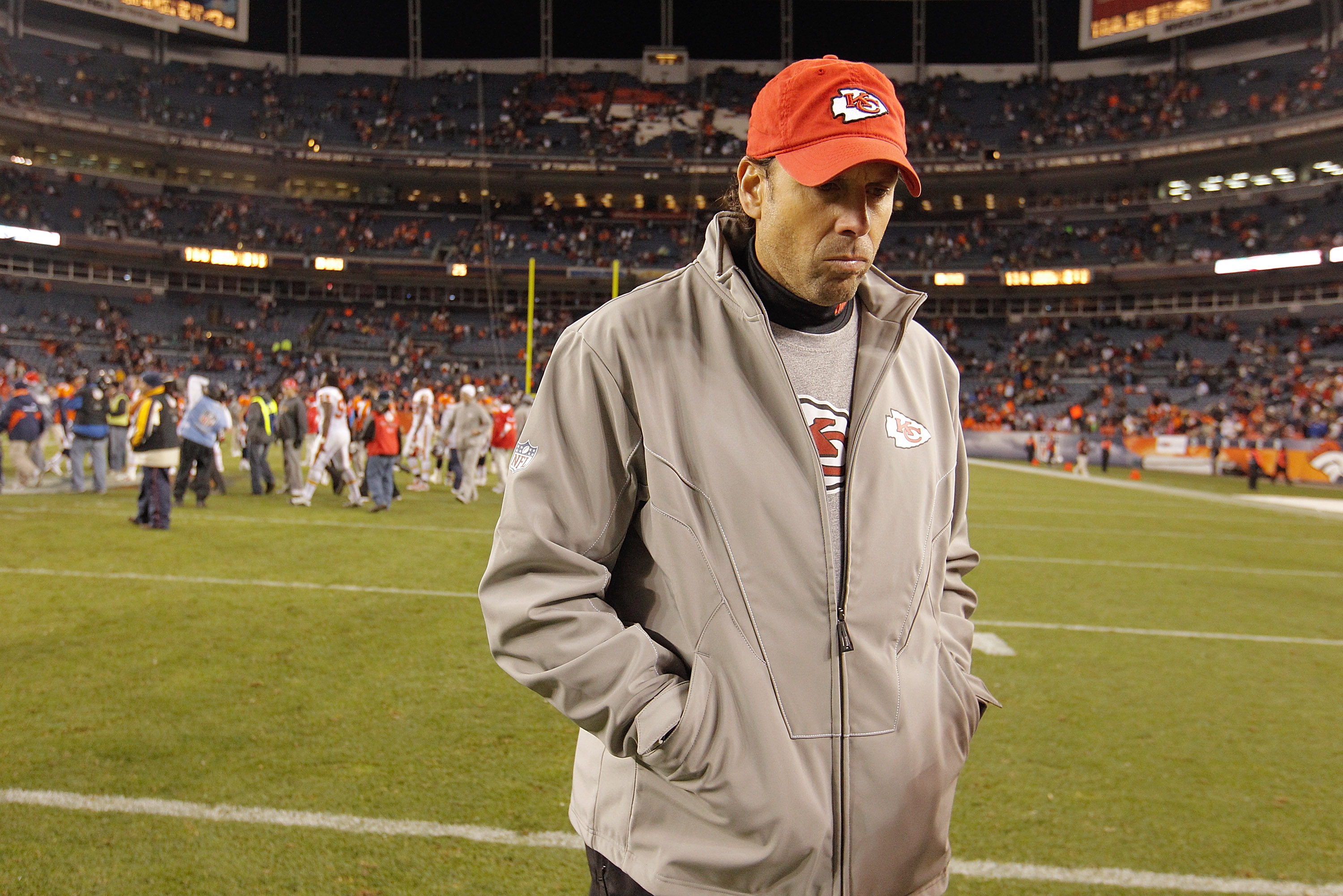 DENVER - NOVEMBER 14:  Head coach Todd Haley of the Kansas City Chiefs walks off the field following the Chiefs 49-29 loss to the Denver Broncos at INVESCO Field at Mile High on November 14, 2010 in Denver, Colorado. (Photo by Justin Edmonds/Getty Images)