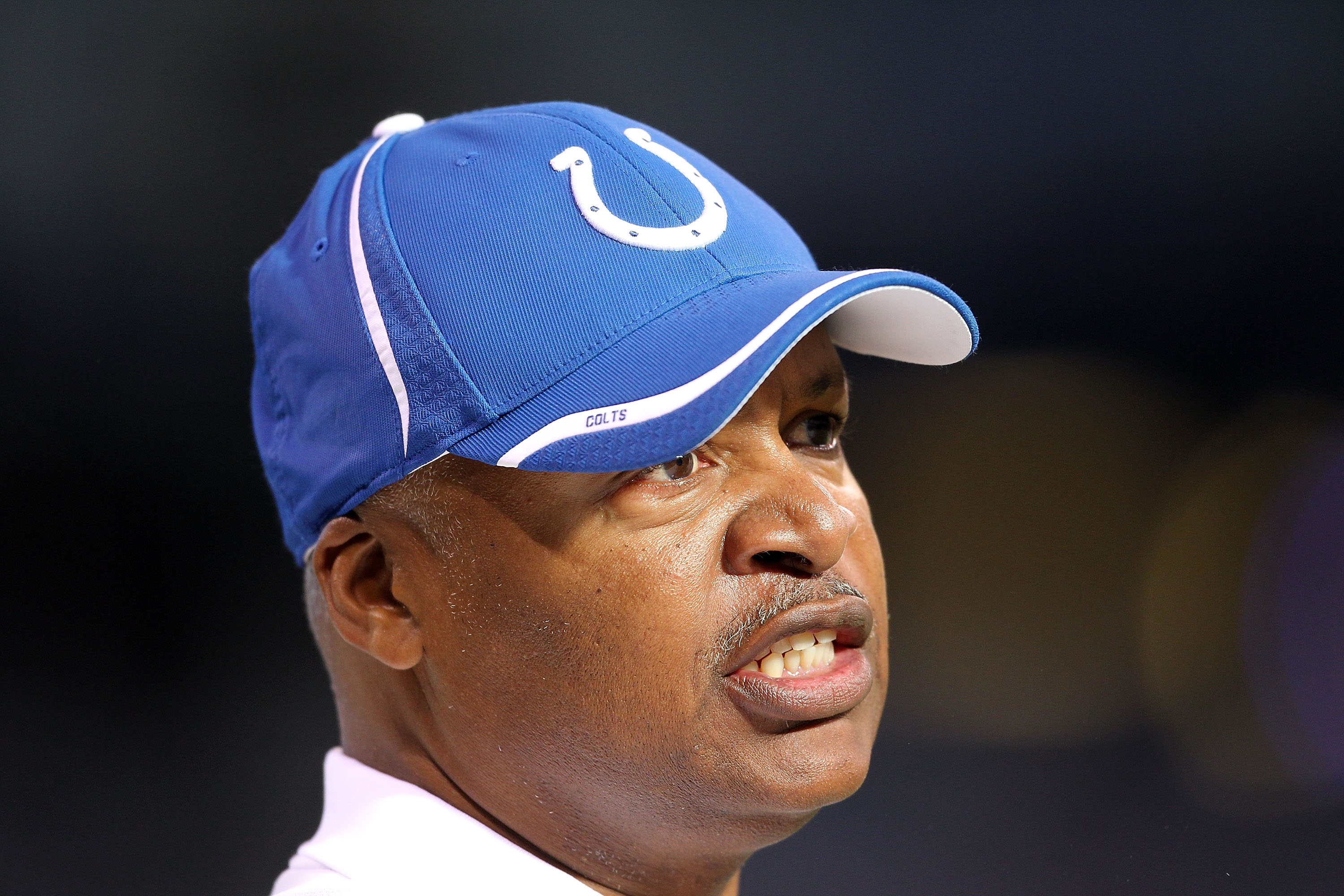INDIANAPOLIS - NOVEMBER 14:  Jim Caldwell the Head Coach of the Indianapolis Colts gives instructions to his team during the NFL game against the Cincinnati Bengals at Lucas Oil Stadium on November 14, 2010 in Indianapolis, Indiana.  (Photo by Andy Lyons/