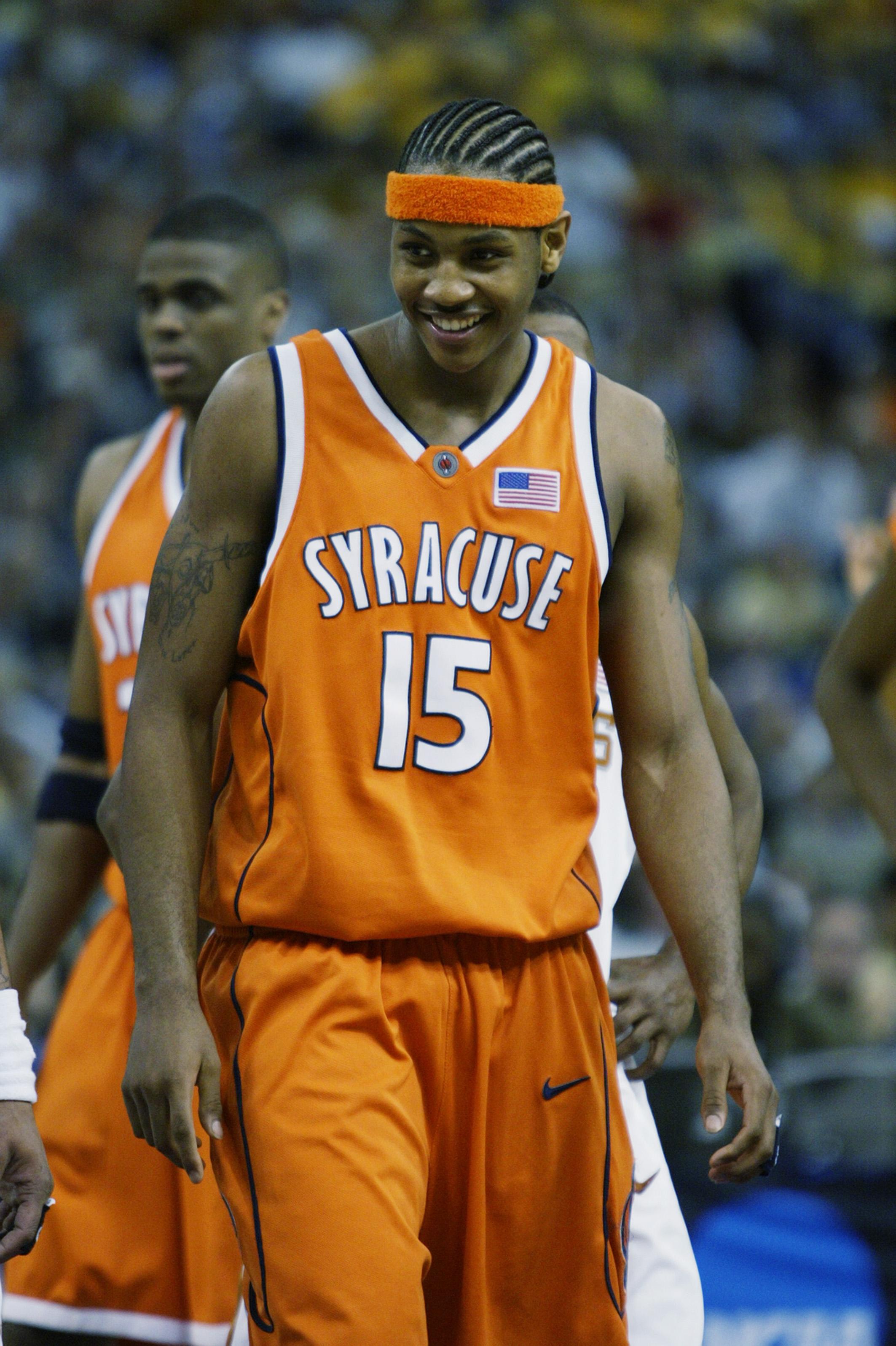 0ab333dd671 NEW ORLEANS - APRIL 5: Carmelo Anthony #15 of the Syracuse University  Orangeman smiles