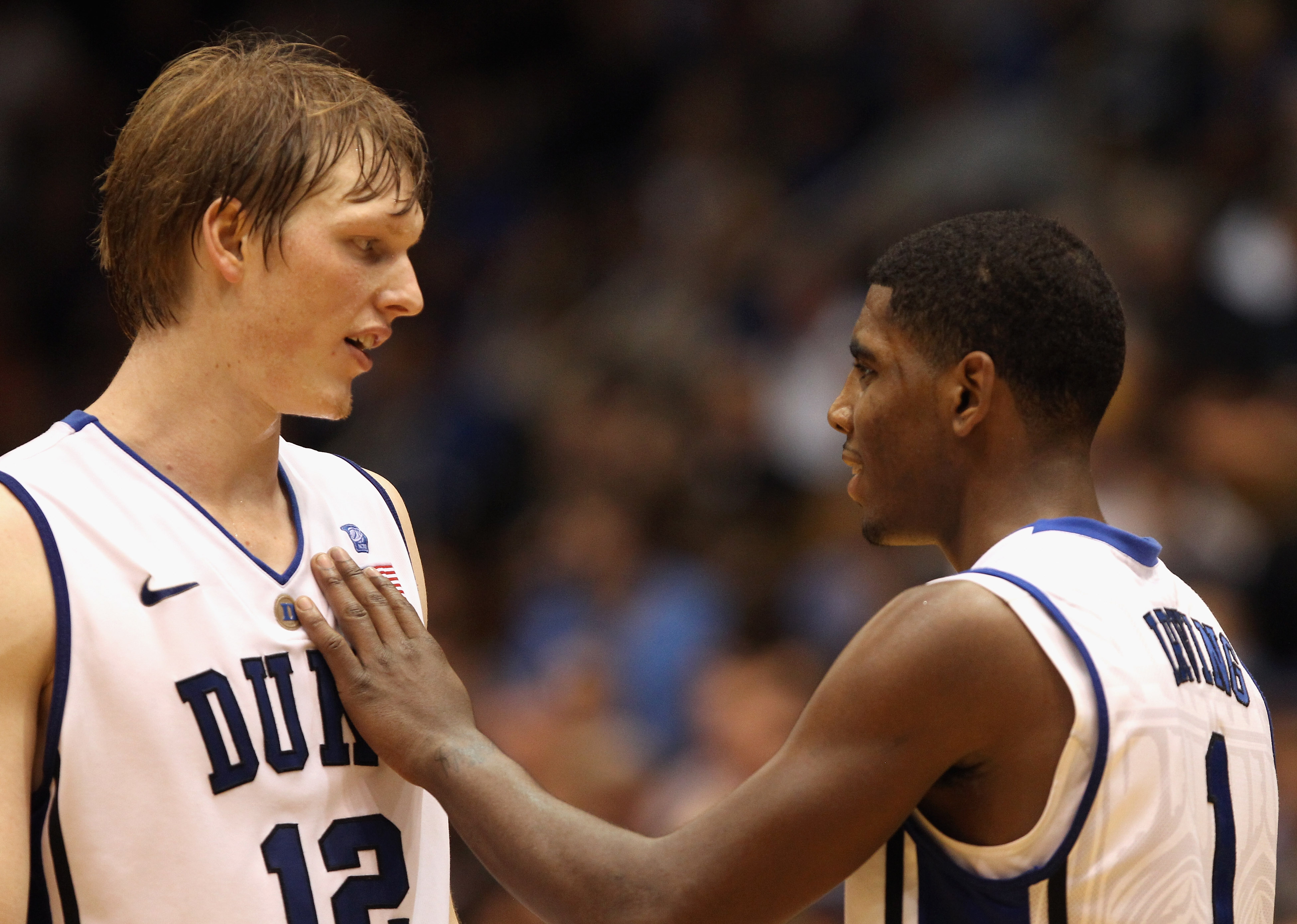 DURHAM, NC - DECEMBER 01:  Kyrie Irving #1 of the Duke Blue Devils and teammate Kyle Singler #12 during their game against the Michigan State Spartans at Cameron Indoor Stadium on December 1, 2010 in Durham, North Carolina.  (Photo by Streeter Lecka/Getty