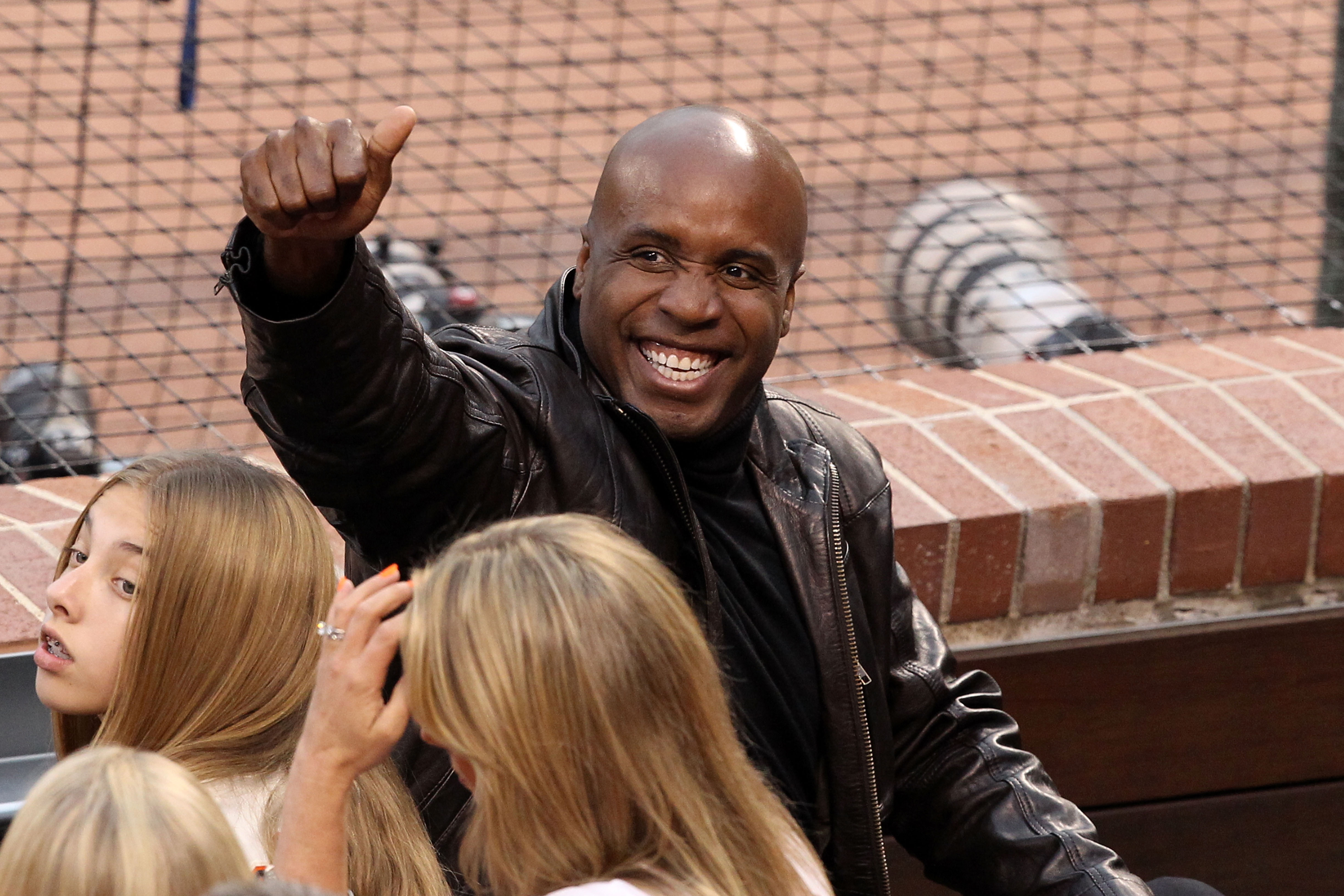 SAN FRANCISCO - OCTOBER 27:  Barry Bonds gestures from his seat during Game One of the 2010 MLB World Series at AT&T Park on October 27, 2010 in San Francisco, California.  (Photo by Christian Petersen/Getty Images)