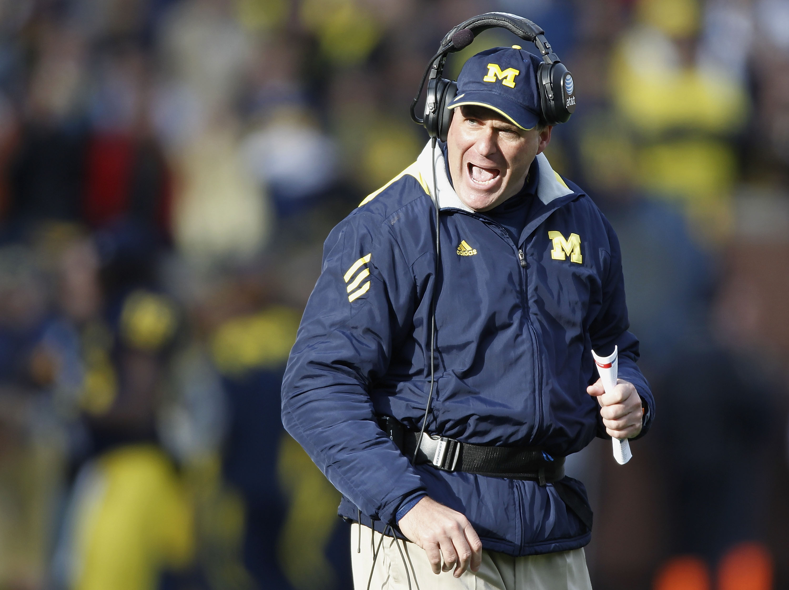 ANN ARBOR, MI - NOVEMBER 20:  Head coach Rich Rodriguez of the Michigan Wolverines reacts while playing the Wisconson Badgers at Michigan Stadium on November 20, 2010 in Ann Arbor, Michigan. Wisconsin won the game 48-28. (Photo by Gregory Shamus/Getty Ima