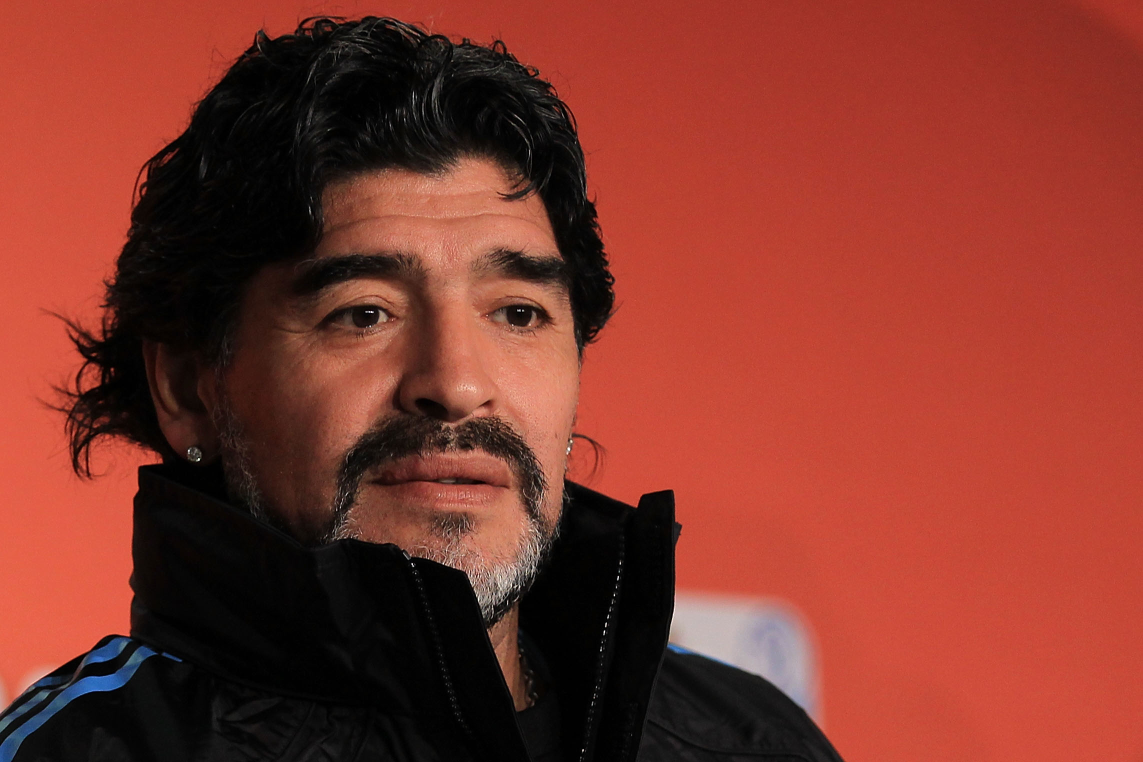 CAPE TOWN, SOUTH AFRICA - JULY 02:  Argentina's head coach Diego Maradona speaks to the media during a press conference at Green Point Arena on July 2, 2010 in Cape Town, South Africa.  (Photo by Chris McGrath/Getty Images)