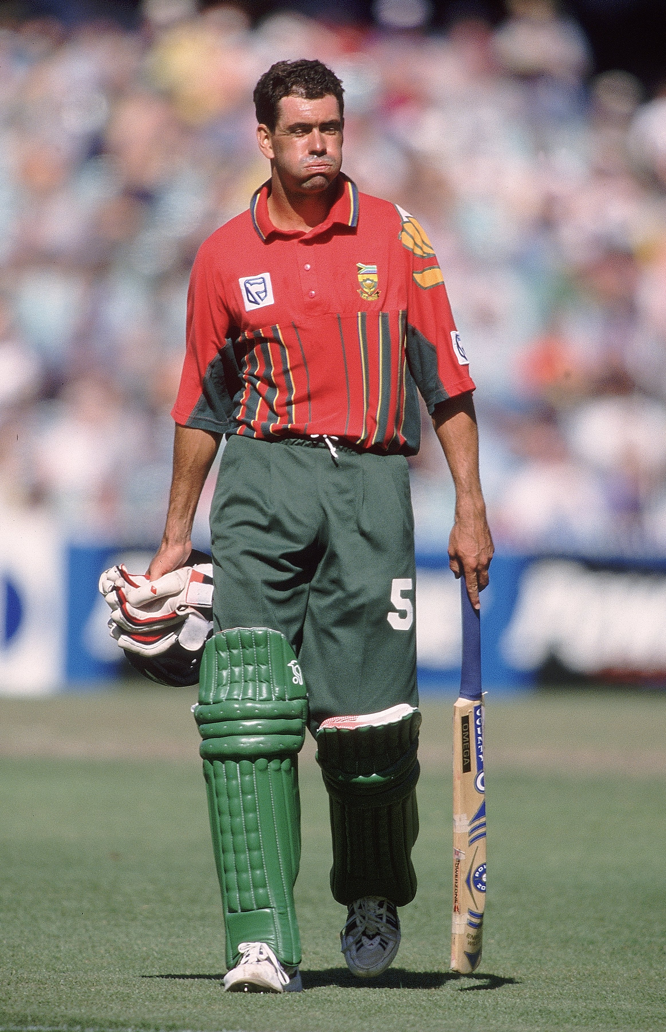 23 Jan 1998:  Hansie Cronje of South Africa shows his disappointment after getting out for 29 in the First Final of the Carlton and United Breweries One-Day International Series at the MCG in Melbourne, Australia. South Africa beat Australia by 6 runs. \M