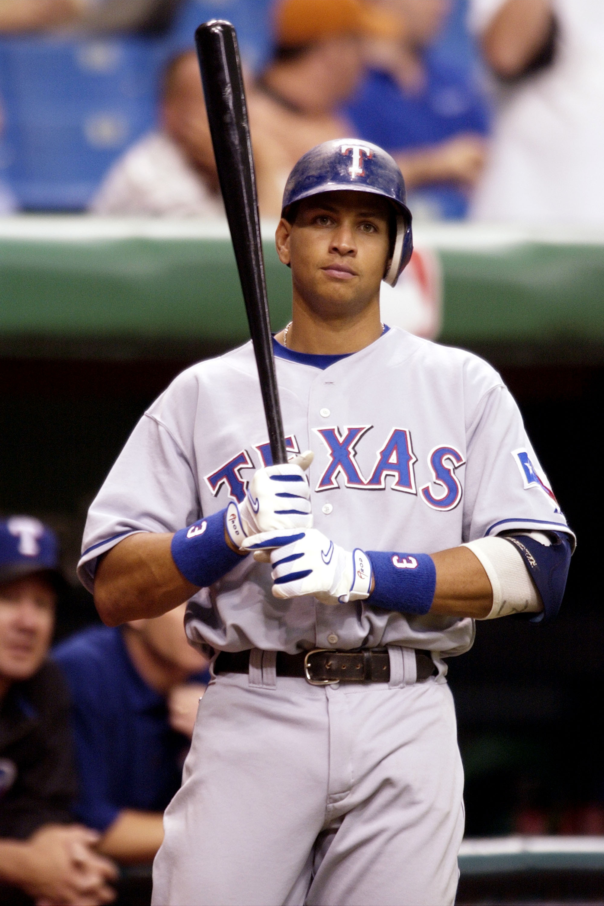 Texas Rangers shortstop Alex Rodriguez waits to bat  July 17, 2000 at Tropicana Field, St. Petersburgh, Florida. (Photo by A. Messerschmidt/Getty Images)