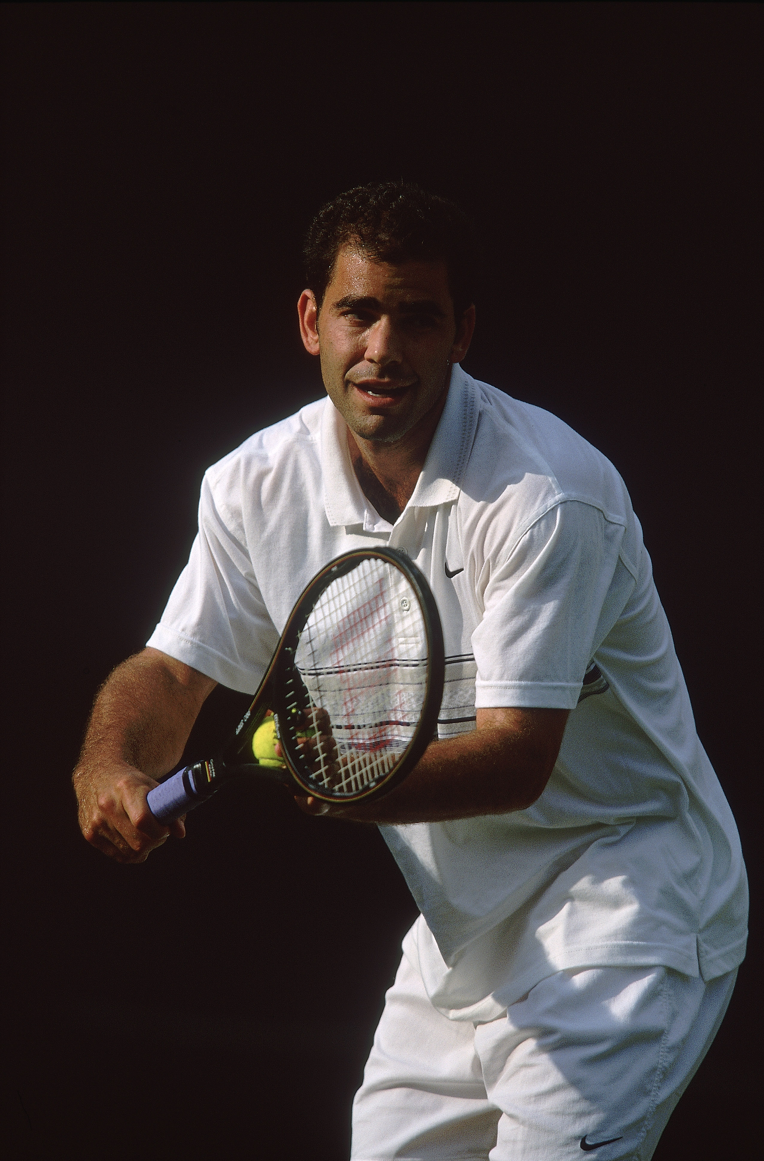 27 Jun 2001:  Pete Sampras of the USA in action during the Lawn Tennis Championships at the All England Club in Wimbledon, London. Mandatory Credit:  Gary M Prior/ Allsport