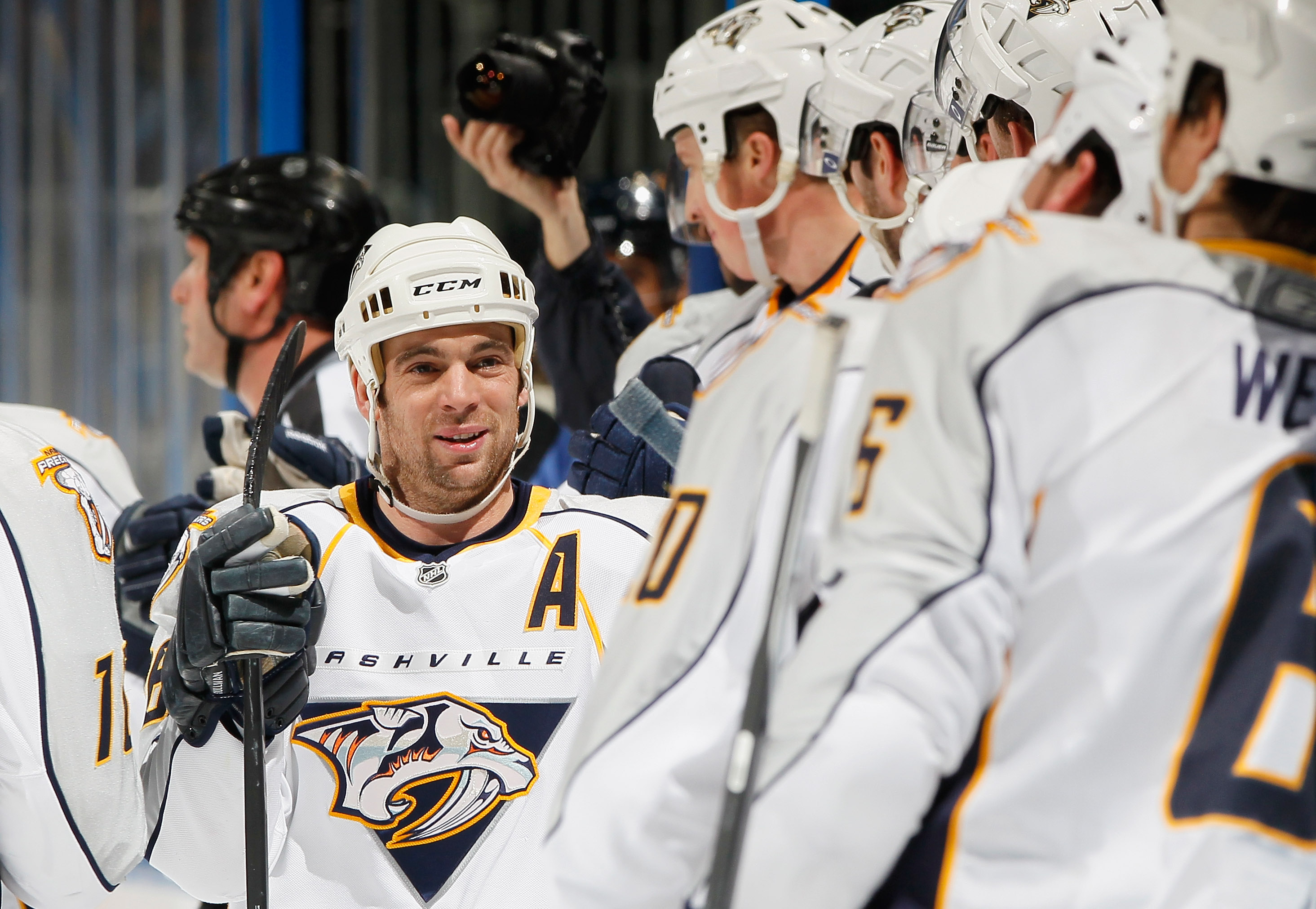 ATLANTA, GA - DECEMBER 06:  Steve Sullivan #26 of the Nashville Predators celebrates with the bench after scoring a goal against the Atlanta Thrashers at Philips Arena on December 6, 2010 in Atlanta, Georgia.  (Photo by Kevin C. Cox/Getty Images)
