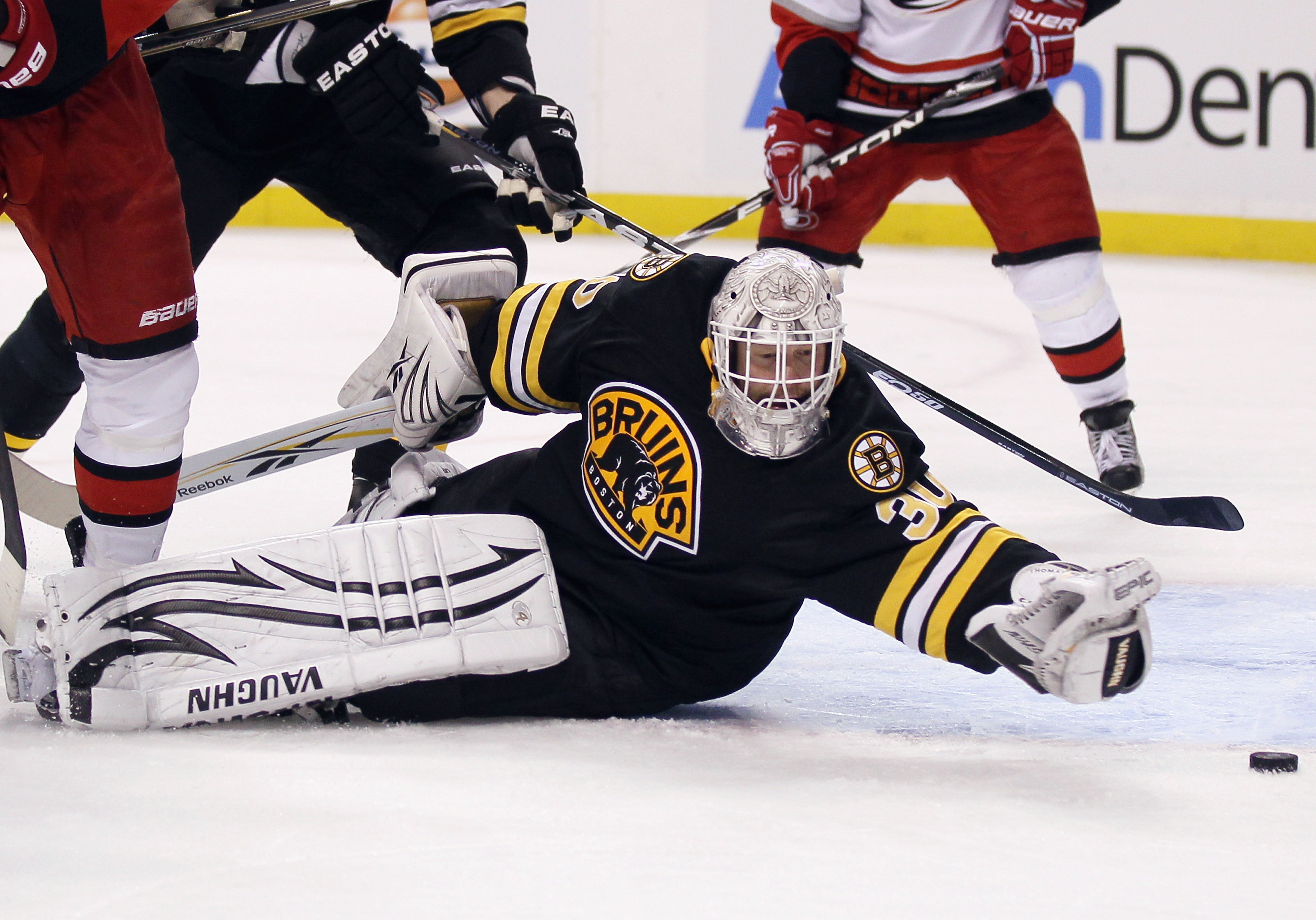 Tim Thomas never gives up on the puck, and never gave up his dream of starting in the NHL.