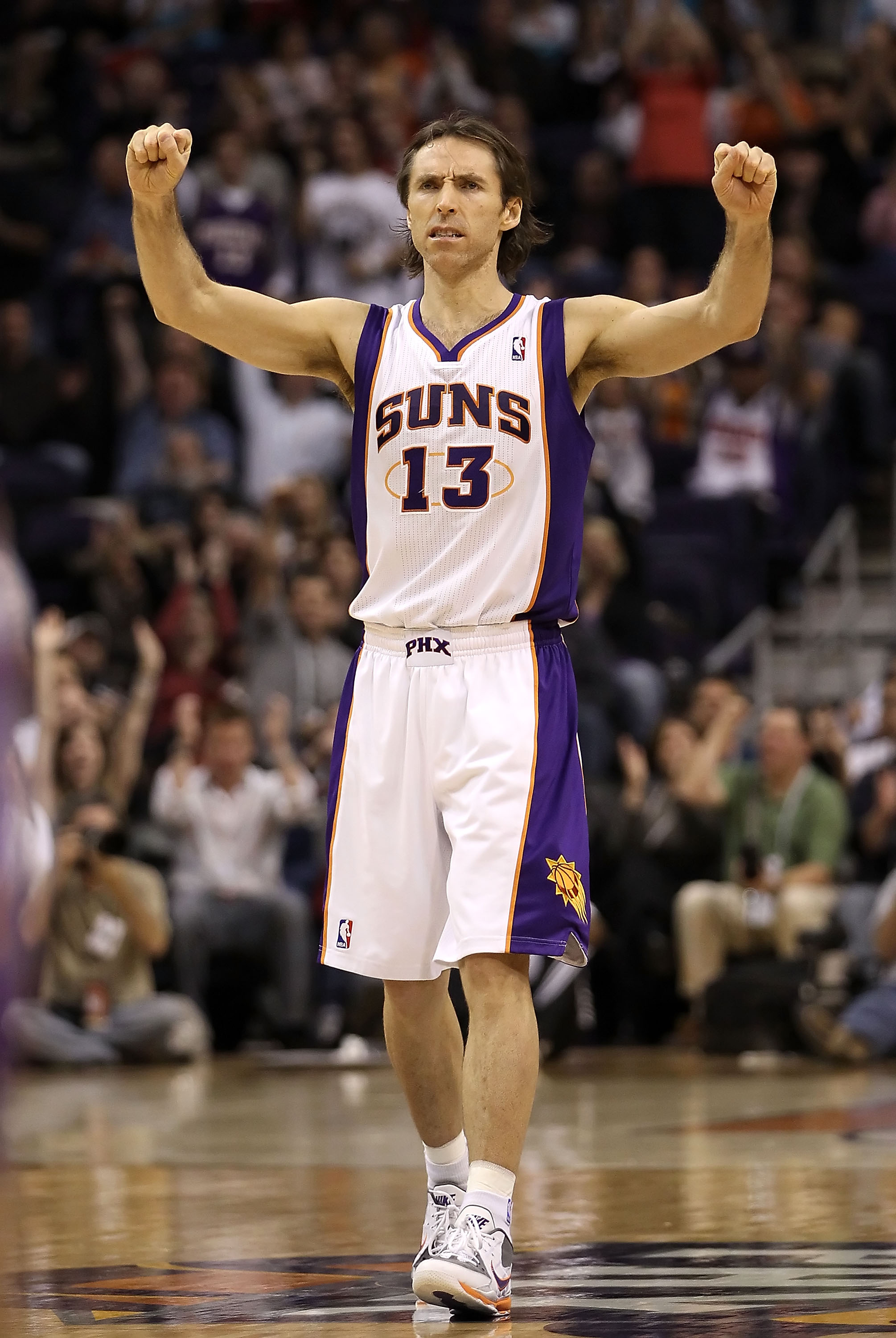 PHOENIX - DECEMBER 03:  Steve Nash #13 of the Phoenix Suns reacts after scoring against the Indiana Pacers during the NBA game at US Airways Center on December 3, 2010 in Phoenix, Arizona.  The Suns defeated the Pacers 105-97.  NOTE TO USER: User expressl
