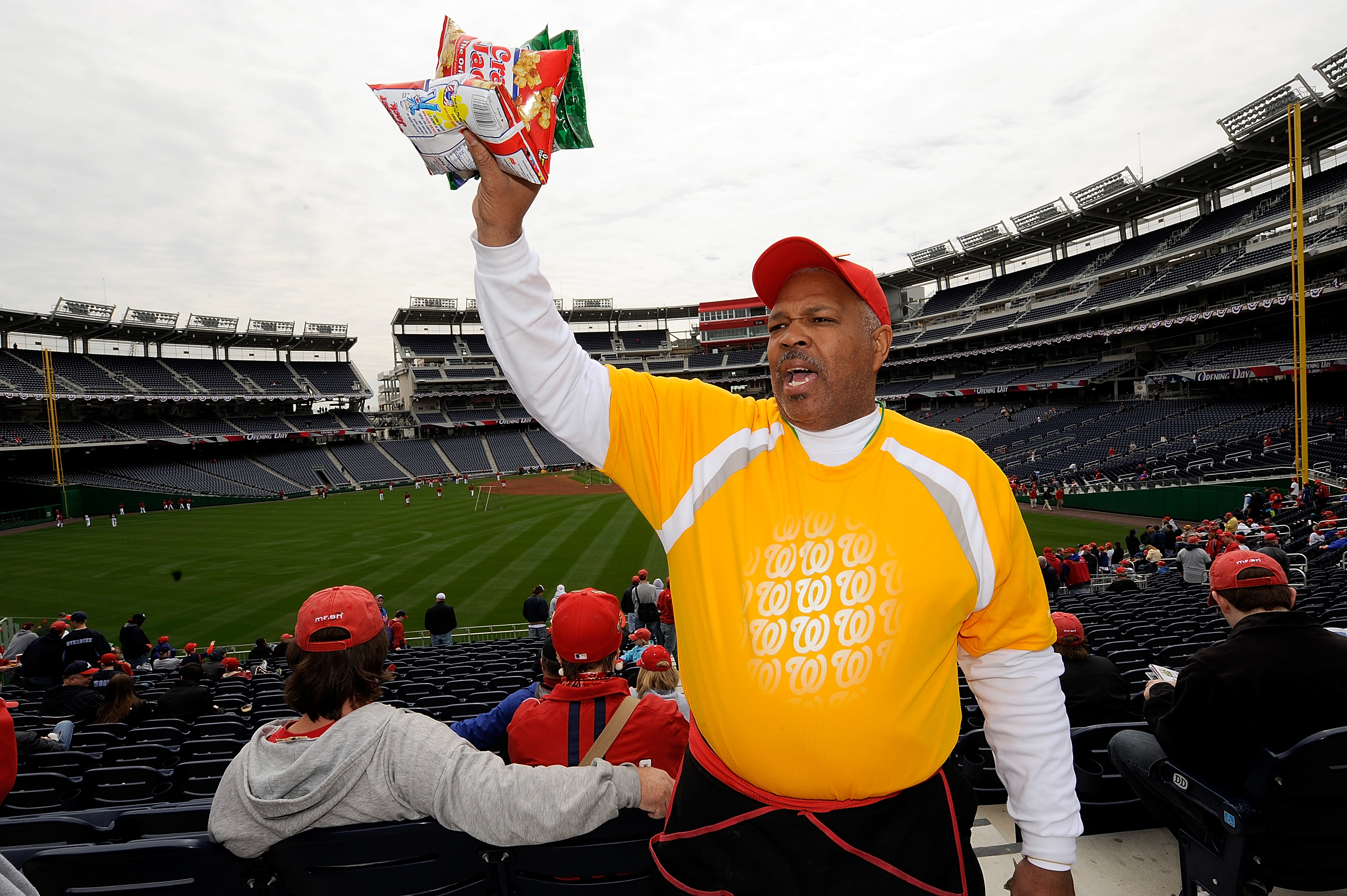 WASHINGTON - APRIL 13:  A vender sells cracker jack before the Washington Nationals home opener against the Philadelphia Phillies at Nationals Park on April 13, 2009 in Washington, DC.  (Photo by Greg Fiume/Getty Images)