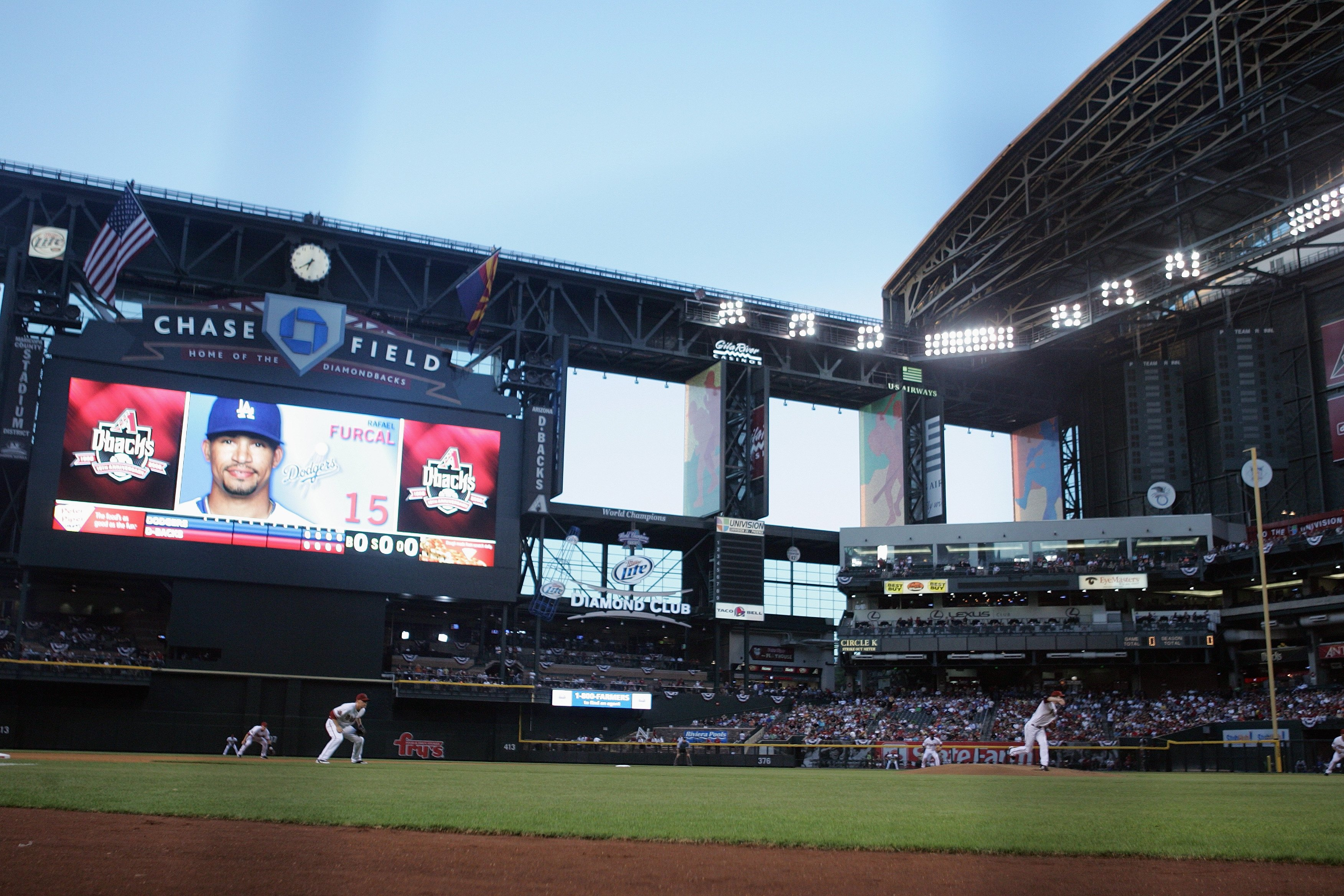 PHOENIX - APRIL 7:  A field level view of the scoreboard is shown during the first pitch of the Los Angeles Dodgers game against the Arizona Diamondbacks at Chase Field on April 7, 2008 in Phoenix, Arizona. (Photo by Jeff Gross/Getty Images)