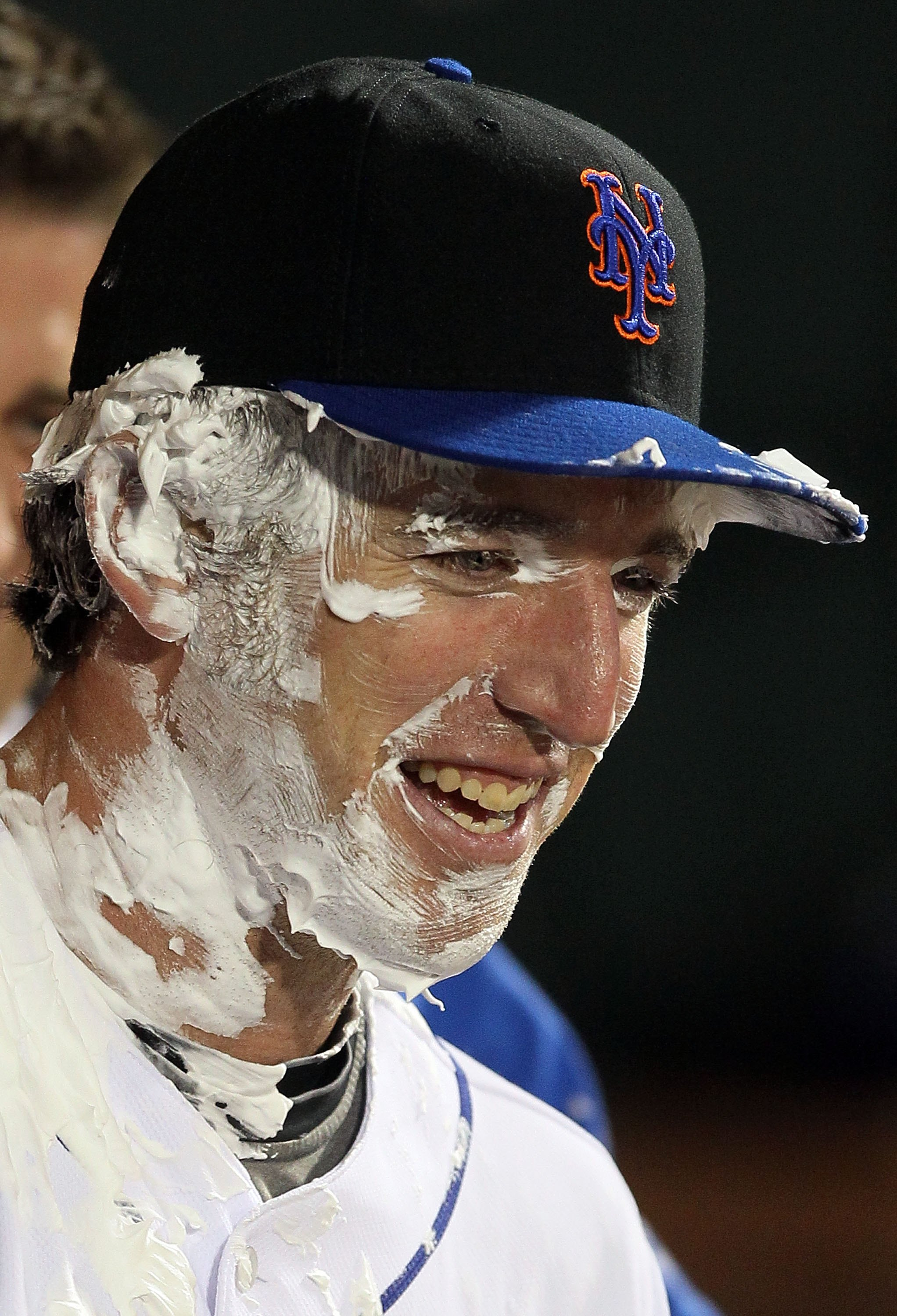 NEW YORK - APRIL 19:  New York Mets rookie Ike Davis #29 looks on after receiving a pie in the face after the game against the Chicago Cubs on April 19, 2010 at Citi Field in the Flushing neighborhood of the Queens borough of New York City. Players from b
