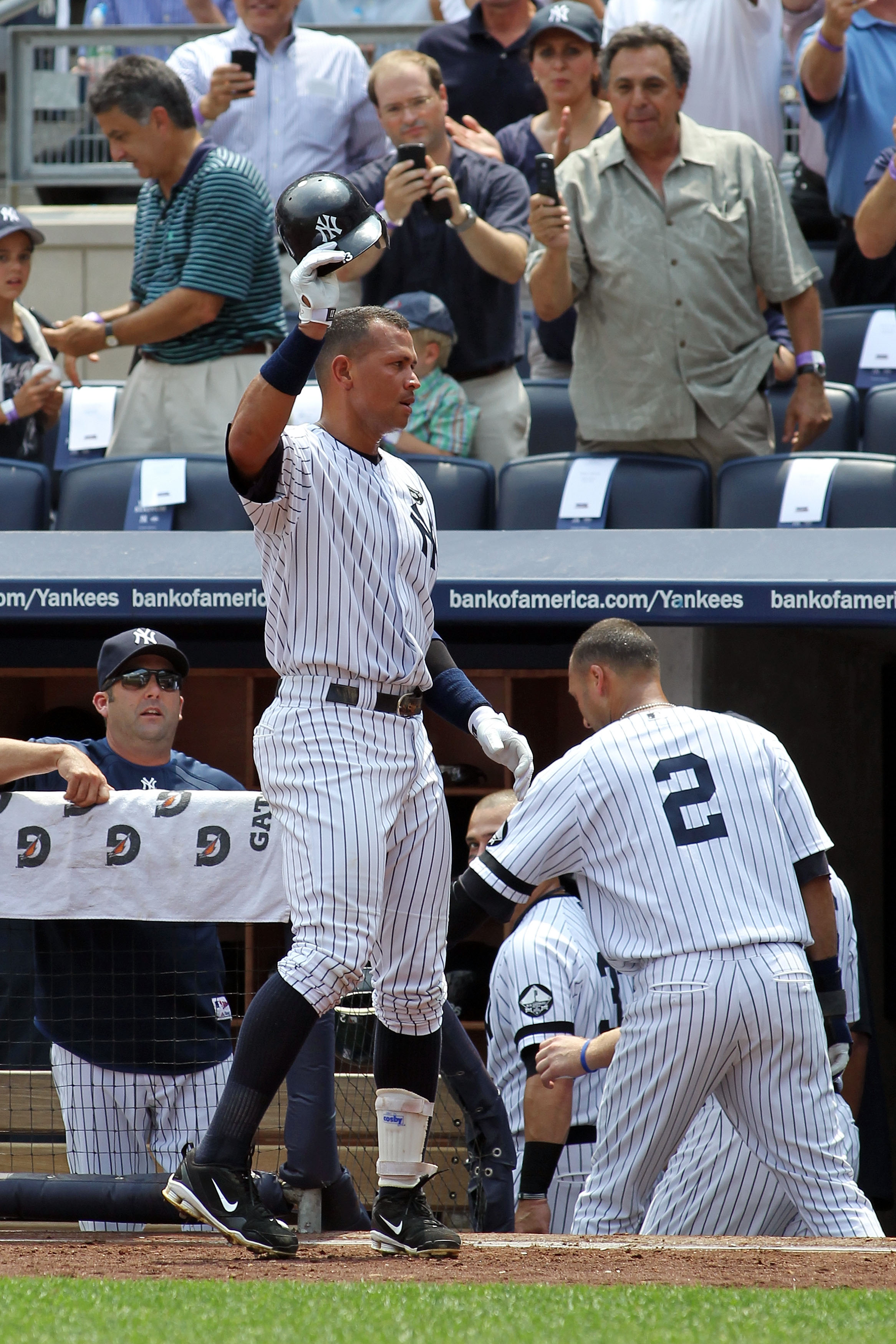 NEW YORK - AUGUST 04:  Alex Rodriguez #13 of the New York Yankees takes a curtain call after hitting the 600th home run of his career in the first inning against the Toronto Blue Jays on August 4, 2010 at Yankee Stadium in the Bronx borough of New York Ci