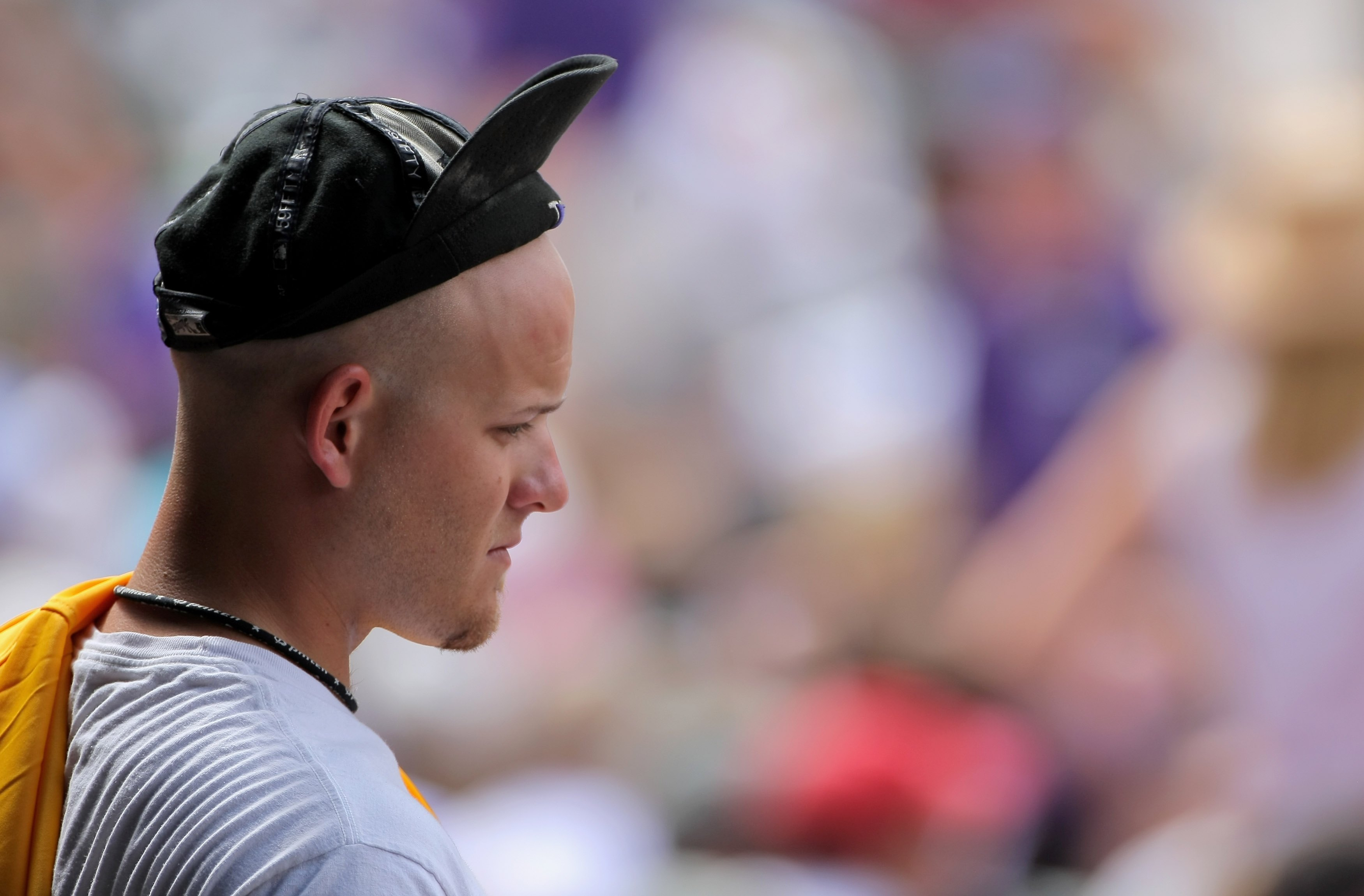 DENVER - JULY 12:  A fan of the Colorado Rockies sports his rally cap as the Rockies came from behind against the Atlanta Braves during MLB action at Coors Field on July 12, 2009 in Denver, Colorado. The Rockies defeated the Braves 8-7.  (Photo by Doug Pe