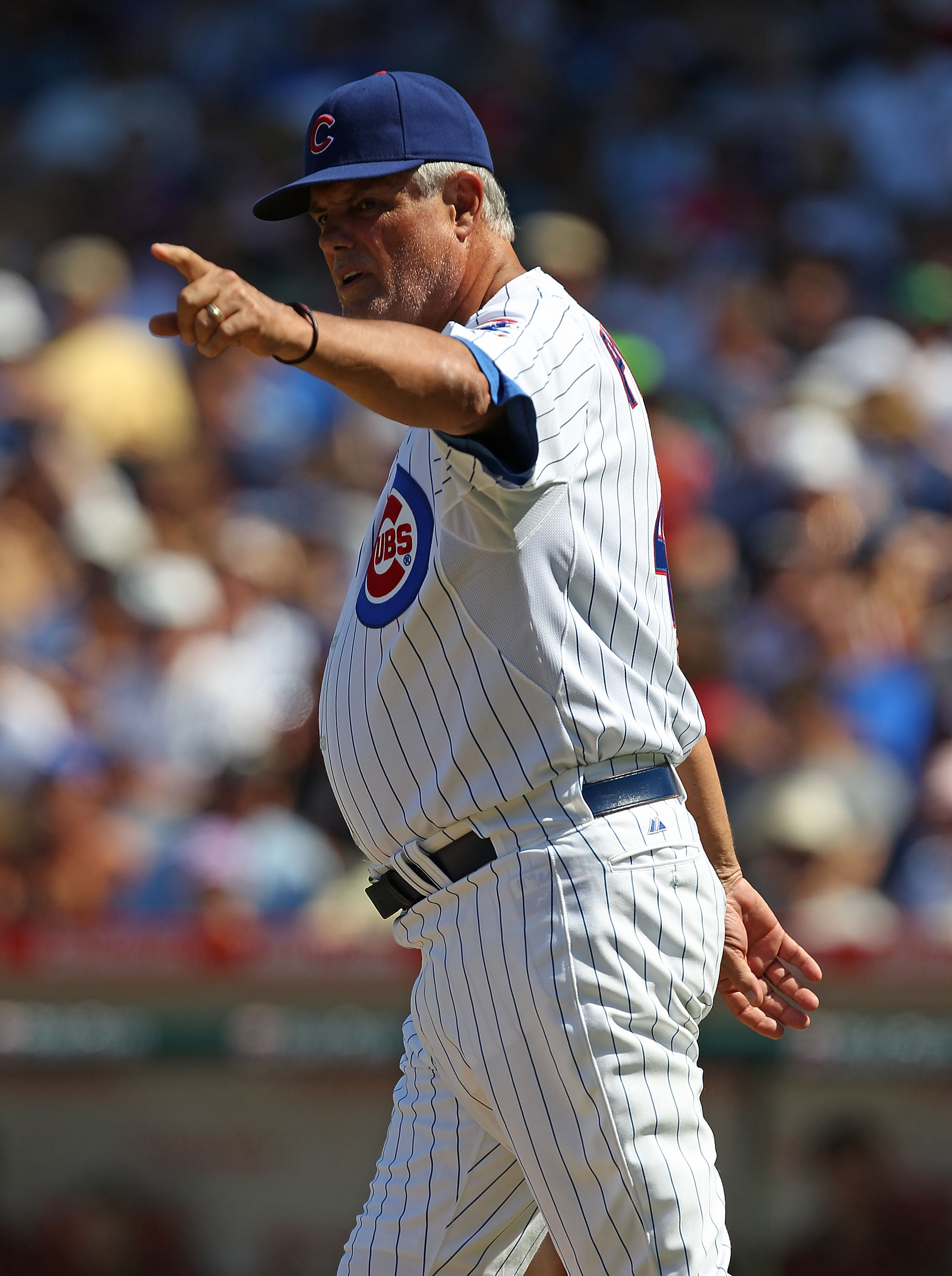 CHICAGO - JULY 21: Manager Lou Piniella #41 of the Chicago Cubs calls for a new pitcher during a game against the Houston Astros at Wrigley Field on July 21, 2010 in Chicago, Illinois. The Astros defeated the Cubs 4-3 in 12 innings. (Photo by Jonathan Dan