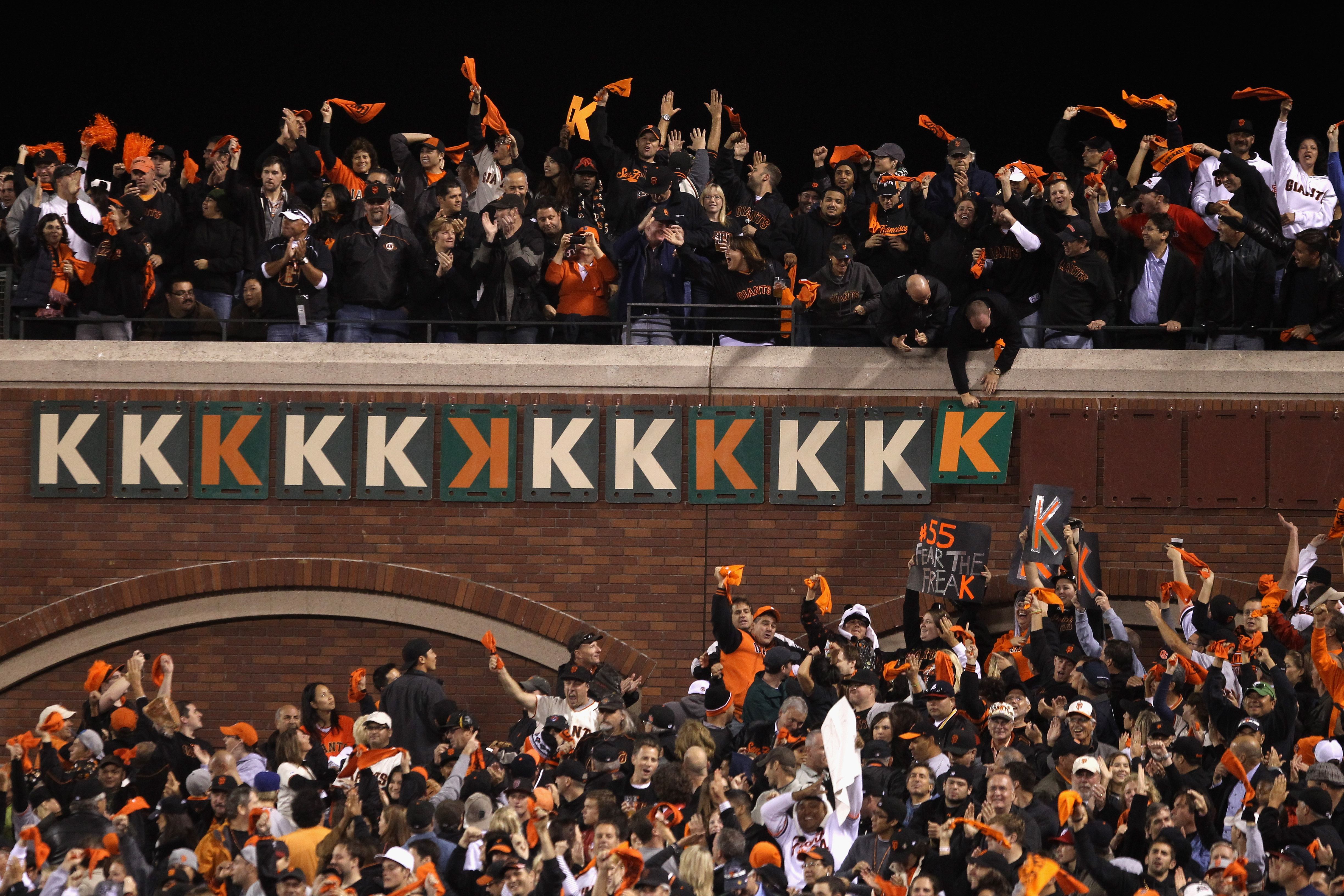SAN FRANCISCO - OCTOBER 07:  Fans put up another K after Tim Lincecum #55 of the San Francisco Giants struck out Eric Hinske #20 of the Atlanta Braves to end the eighth inning of game 1 of the NLDS at AT&T Park on October 7, 2010 in San Francisco, Califor
