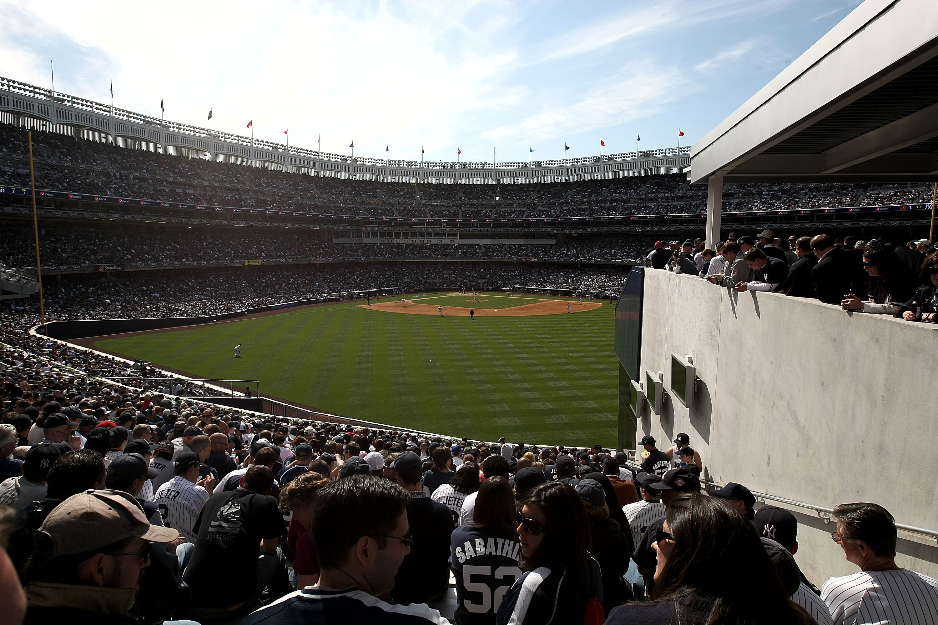 NEW YORK - APRIL 16:  A general view of the obstructed view seats in the bleachers as the  Cleveland Indians play the New York Yankees during opening day at the new Yankee Stadium on April 16, 2009 in the Bronx borough of New York City, New York. This is