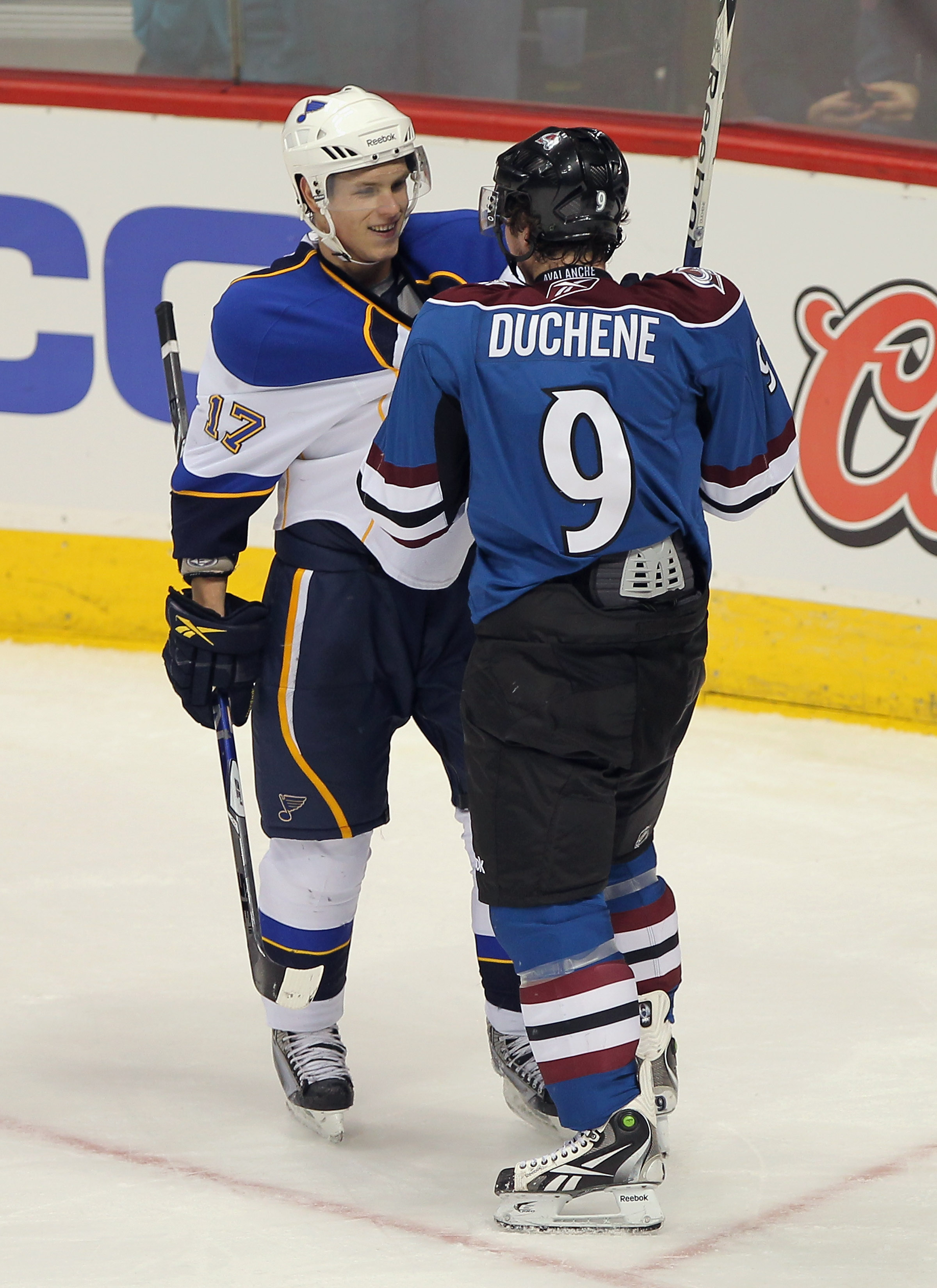 DENVER - NOVEMBER 15:  Matt Duchene #9 of the Colorado Avalanche and Vladimir Sobotka #17 of the St. Louis Blues have words with one another just before they started fighting in the third period at the Pepsi Center on November 15, 2010 in Denver, Colorado