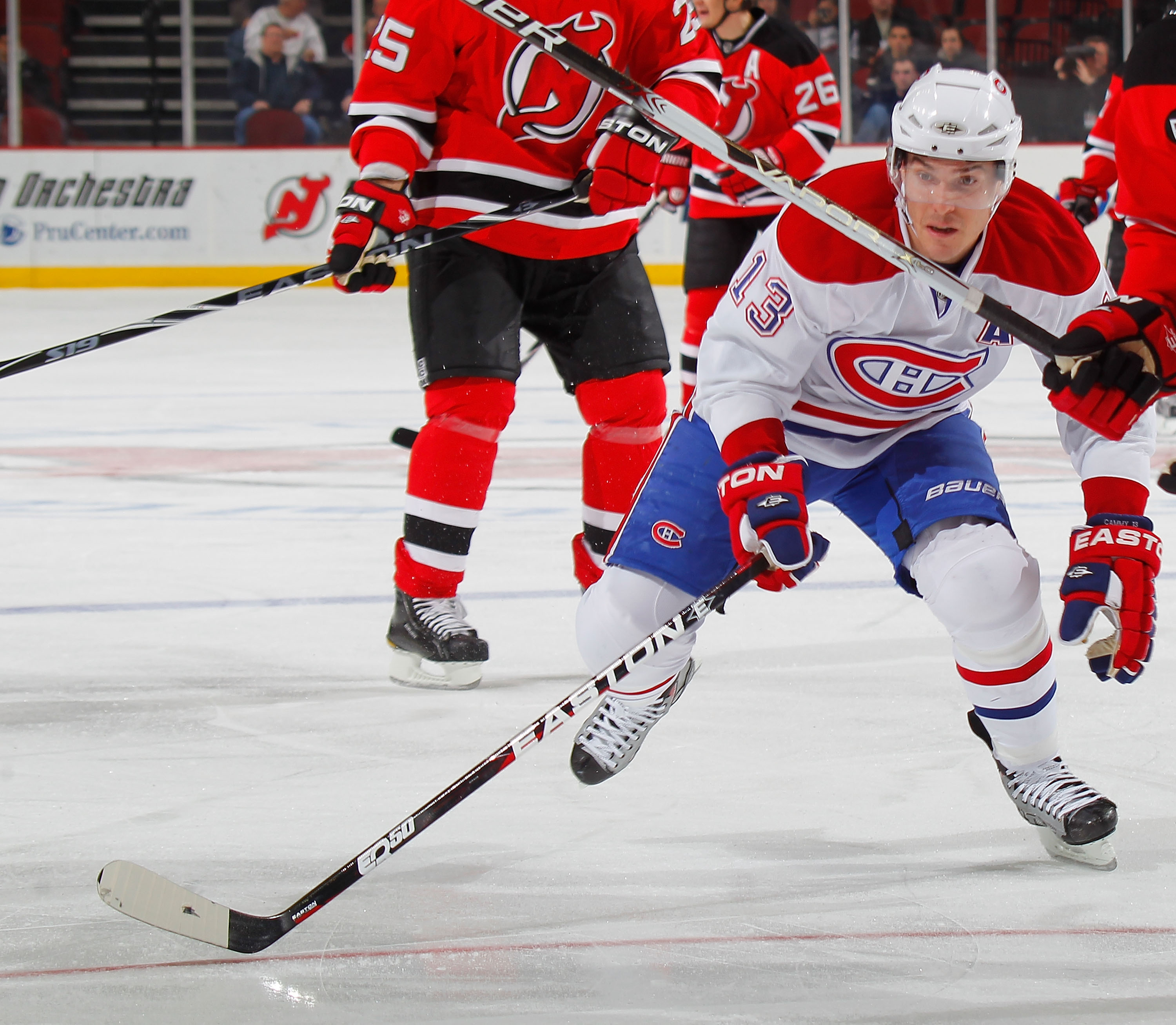 NEWARK, NJ - DECEMBER 02:  Michael Cammalleri #13 of the Montreal Canadiens skates during a hockey game against the New Jersey Devils at the Prudential Center on December 2, 2010 in Newark, New Jersey. The Canadiens won 5-1. (Photo by Paul Bereswill/Getty