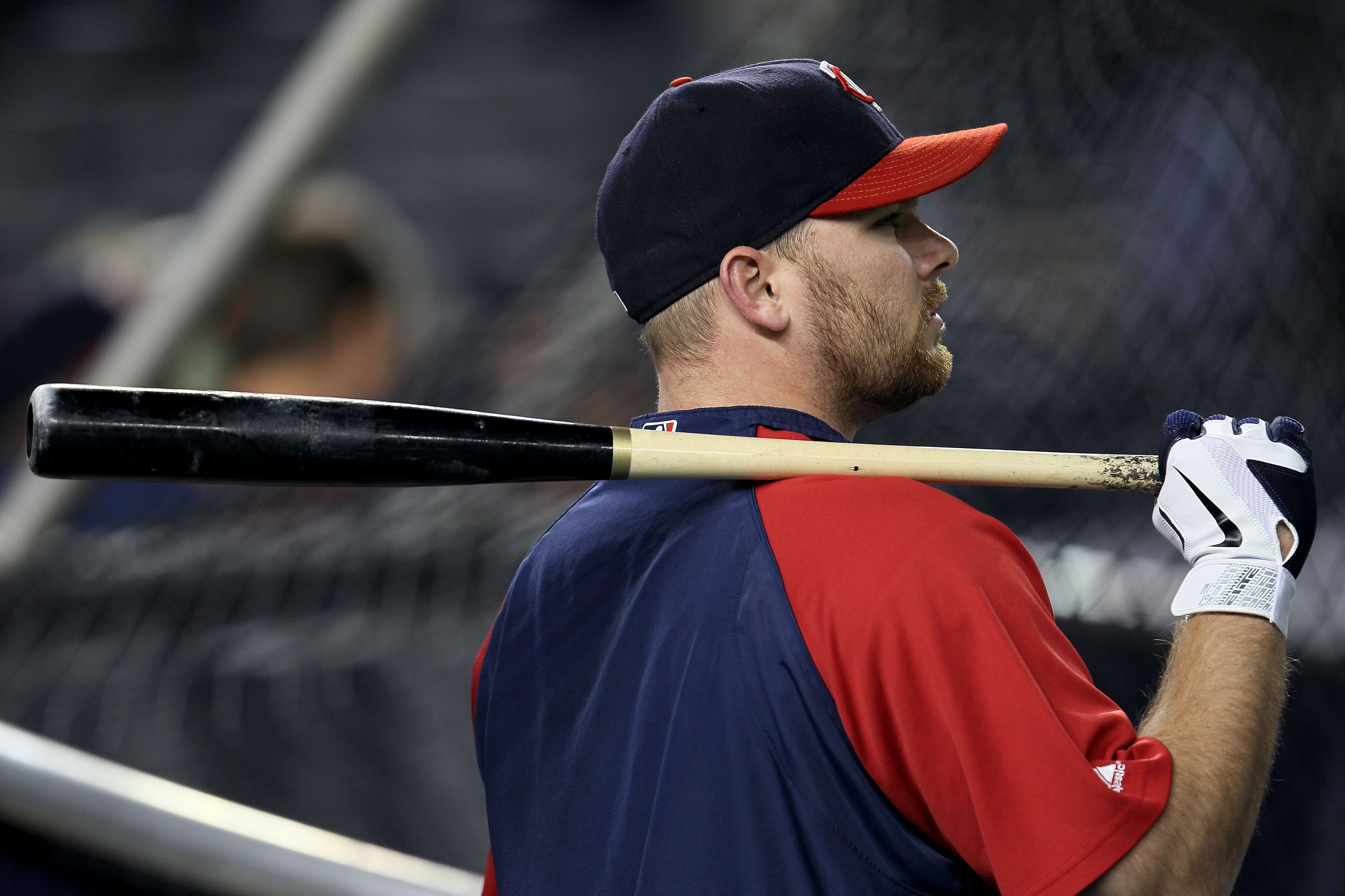 NEW YORK - OCTOBER 09:  Jason Kubel #16 of the Minnesota Twins looks on during batting practice against the New York Yankees during Game Three of the ALDS part of the 2010 MLB Playoffs at Yankee Stadium on October 9, 2010 in the Bronx borough of New York