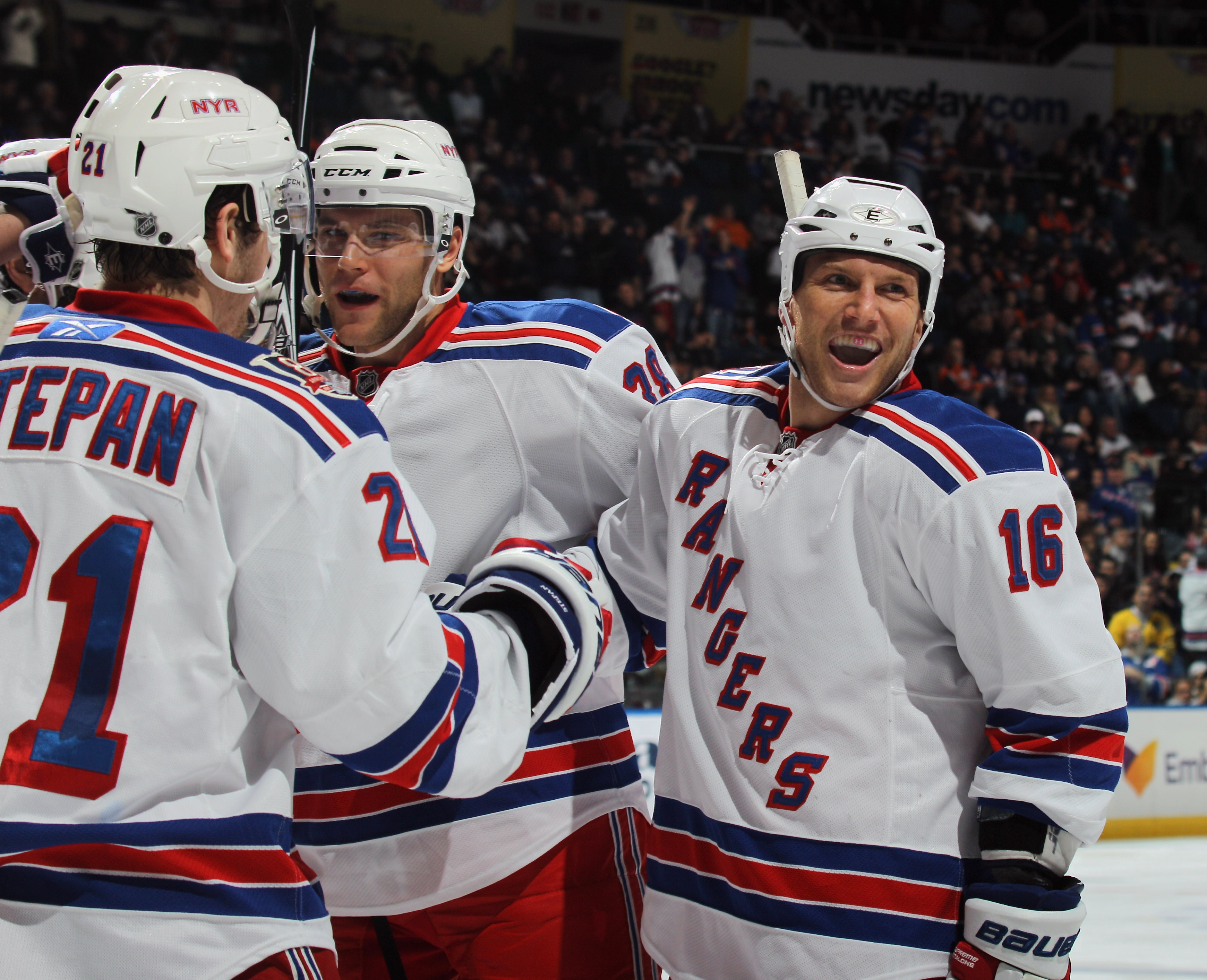 UNIONDALE, NY - DECEMBER 02: Sean Avery #16 of the New York Rangers celebrates a third period goal by Marian Gaborik #10 against the New York Islanders at the Nassau Coliseum on December 2, 2010 in Uniondale, New York. The Rangers defeated the Islanders 6