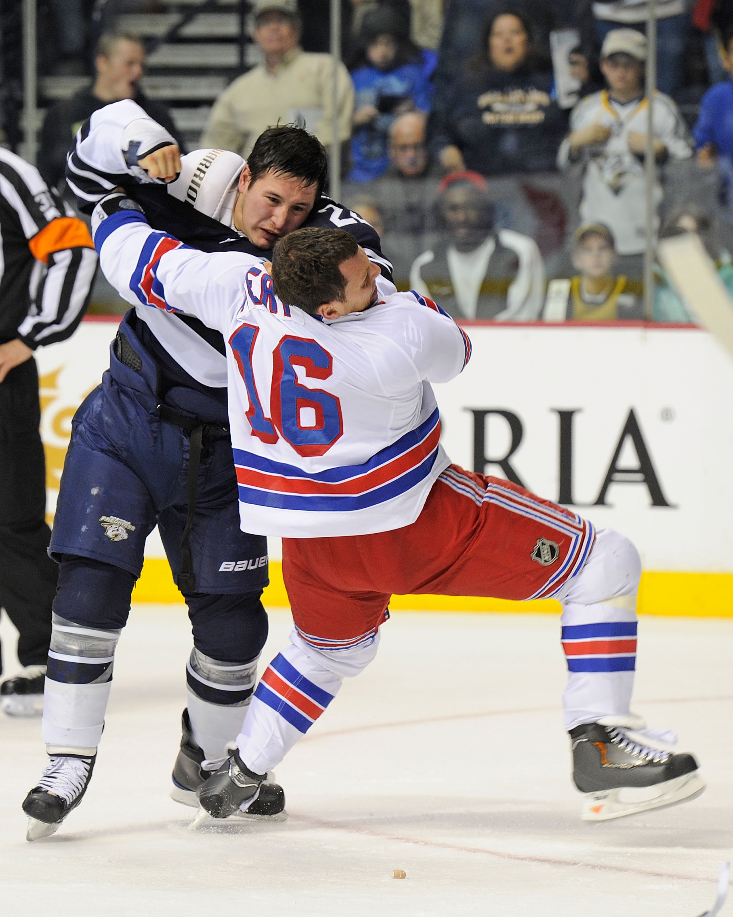 NASHVILLE, TN - NOVEMBER 27:  Jordin Tootoo #22 of the Nashville Predators fights Sean Avery #16 of the New York Rangers on November 27, 2010 at the Bridgestone Arena in Nashville, Tennessee.  (Photo by Frederick Breedon/Getty Images)