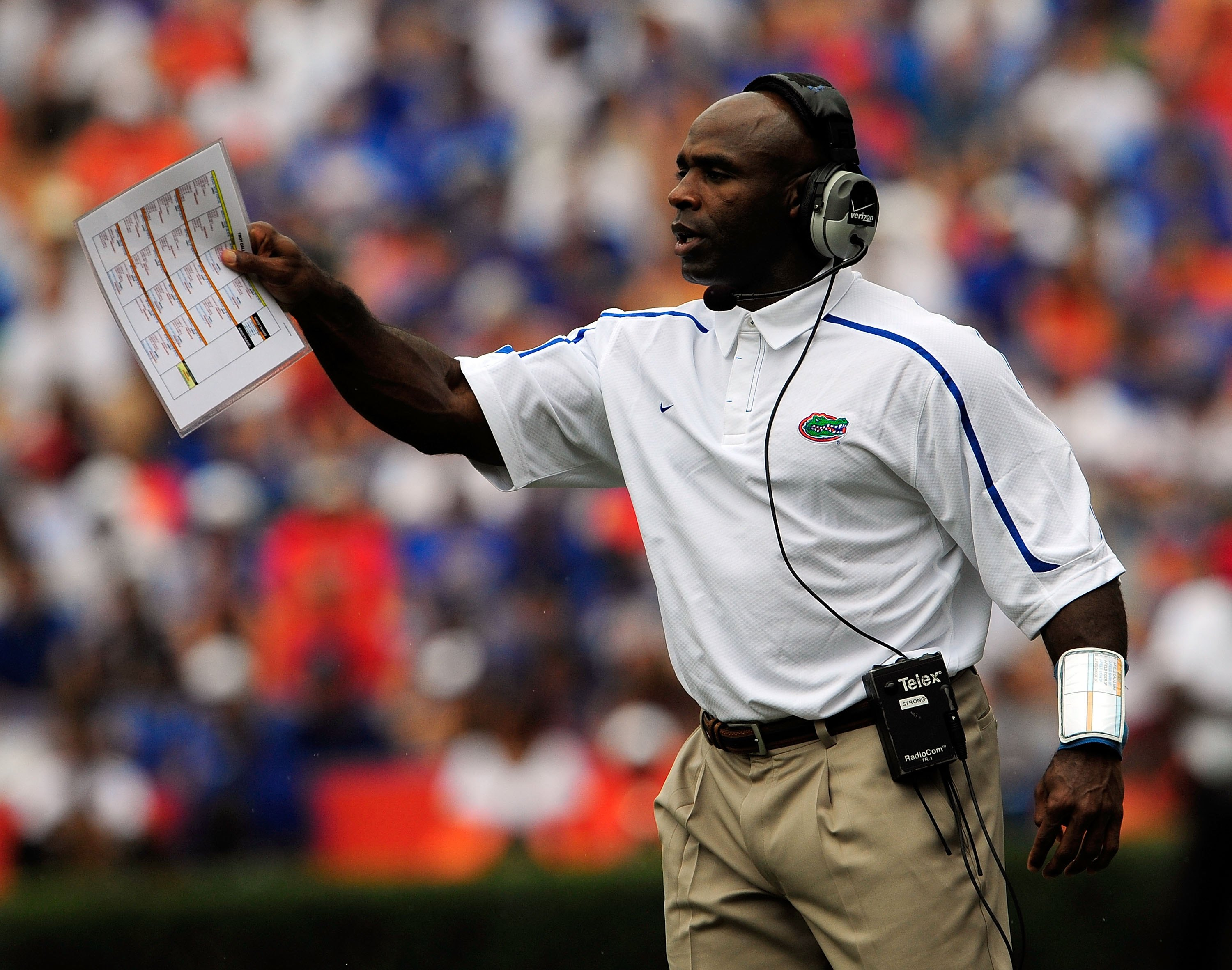 GAINESVILLE, FL - SEPTEMBER 12:  Defensive coordinator Charlie Strong of the Florida Gators calls out a signal during the game against the Troy Trojans at Ben Hill Griffin Stadium on September 12, 2009 in Gainesville, Florida.  (Photo by Sam Greenwood/Get