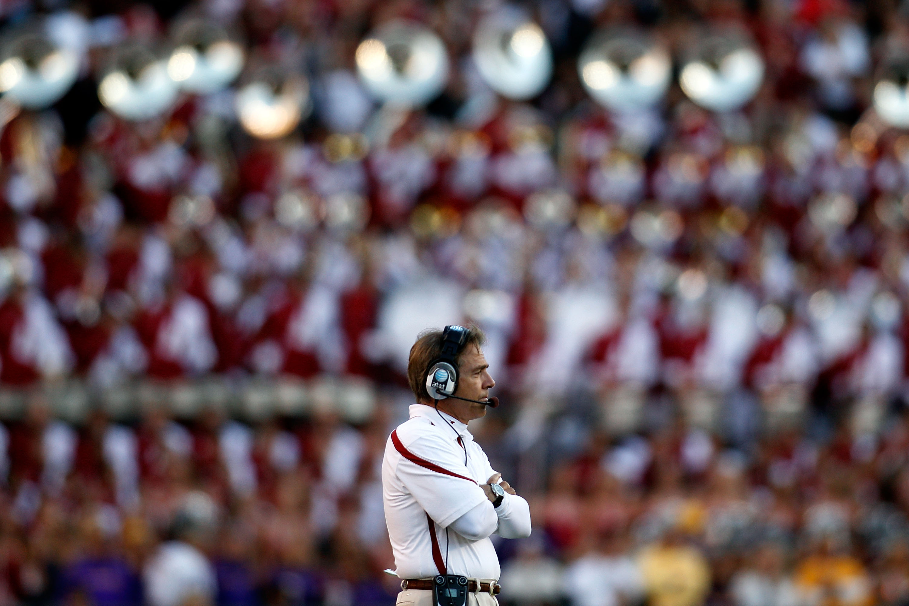 BATON ROUGE, LA - NOVEMBER 06:  Head coach Nick Saban of the Alabama Crimson Tide watches a play during the game against the Louisiana State University Tigers at Tiger Stadium on November 6, 2010 in Baton Rouge, Louisiana. The Tigers defeated the Crimson