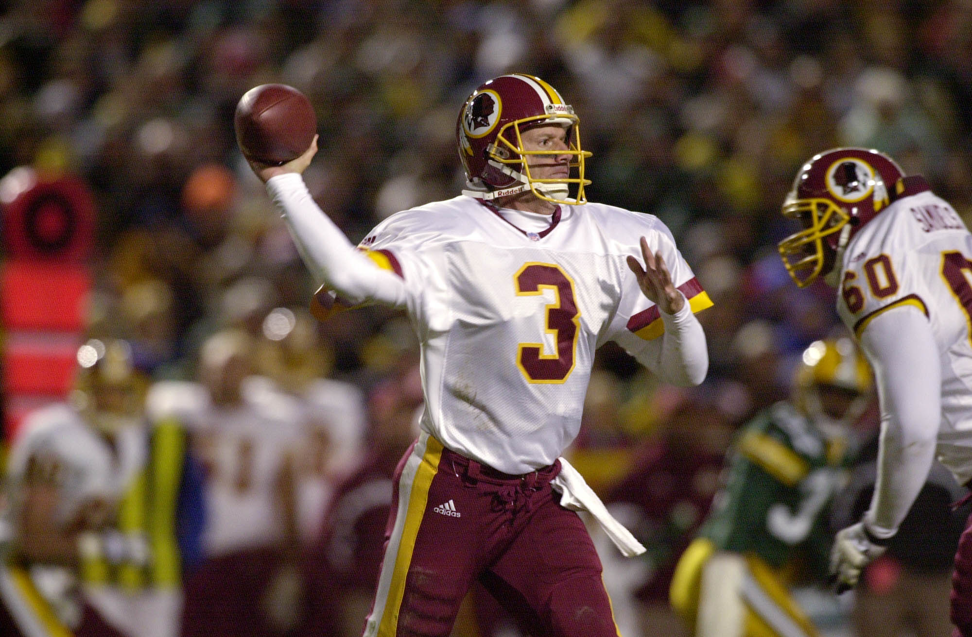 24 Sep 2001: Quarterback Jeff George #3 of the Washington Redskins looks down field for a receiver against the Green Bay Packers during the game at Lambeau Field in Green Bay, Wisconsin. The Redskins were defeated 37-0 by the Packers. DIGITAL IMAGE  Manda