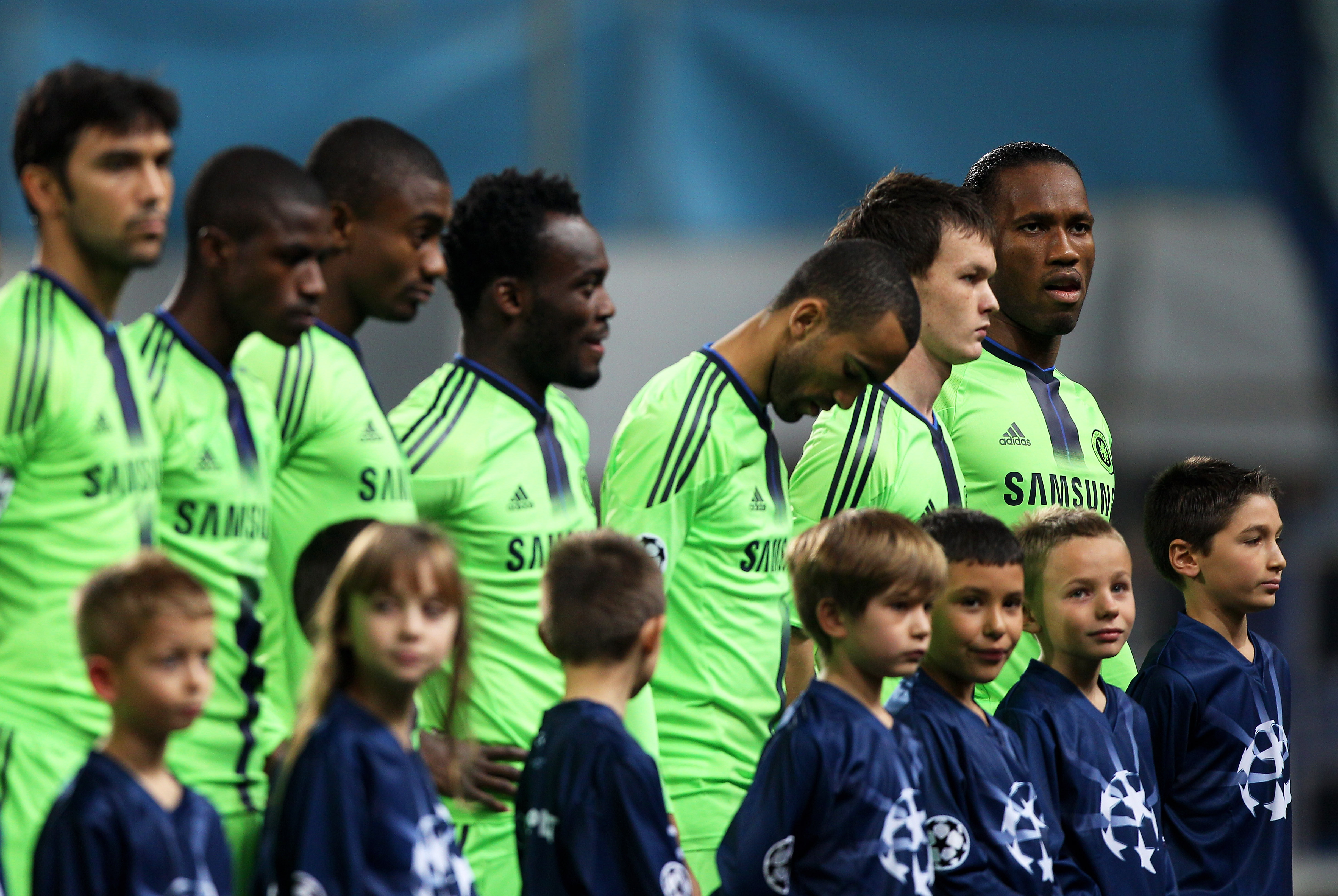 MARSEILLE, FRANCE - DECEMBER 08:  Former Marseille striker Didier Drogba (R) of Chelsea looks on prior to kickoff during the UEFA Champions League Group F match between Marseille and Chelsea at the Stade Velodrome on December 8, 2010 in Marseille, France.