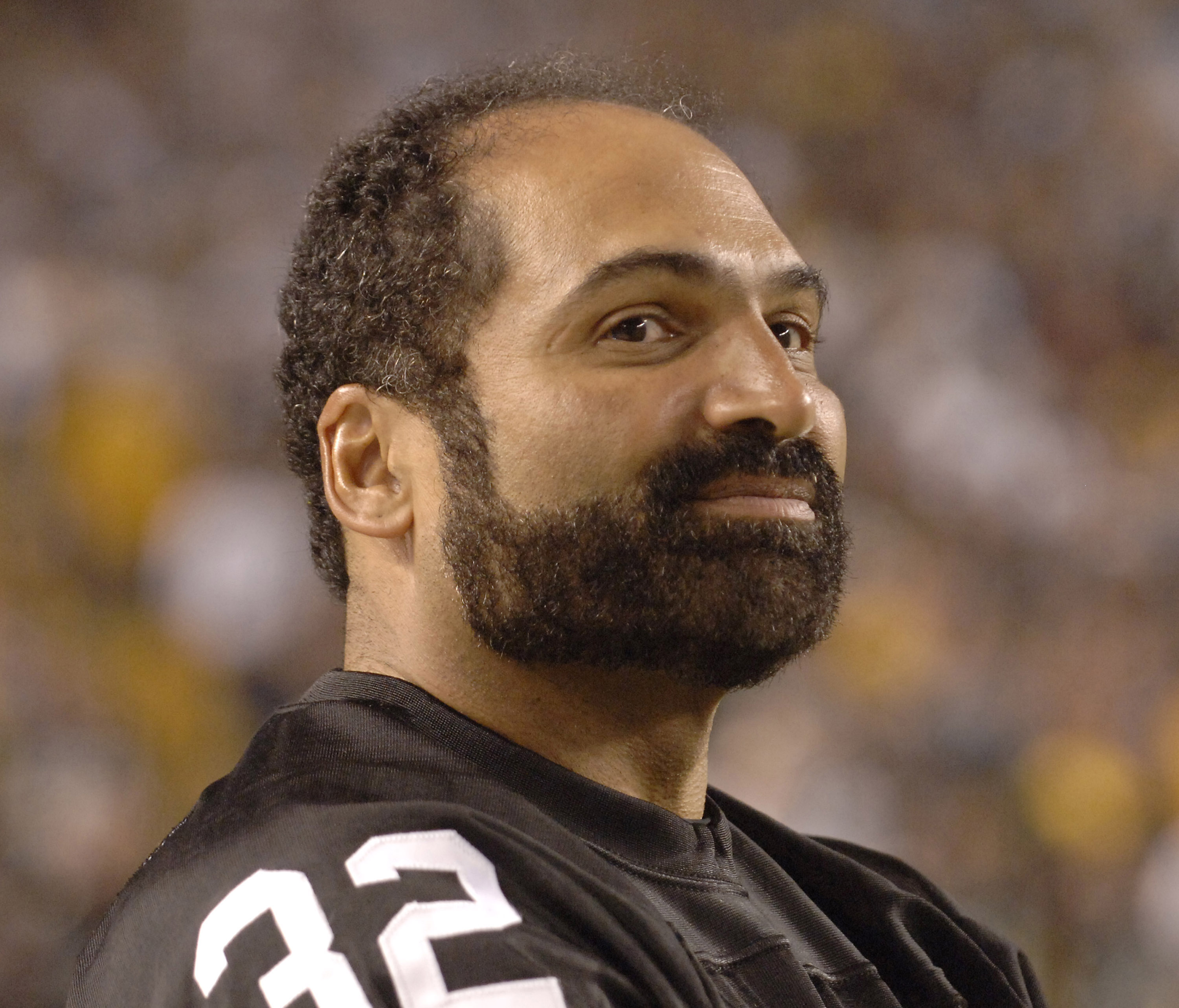 Retired Pittsburgh Steelers running back Franco Harris watches the action versus the Miami Dolphins at Heinz Field, September 7, 2006. The Steelers won 28-17.  (Photo by Al Messerschmidt/Getty Images)
