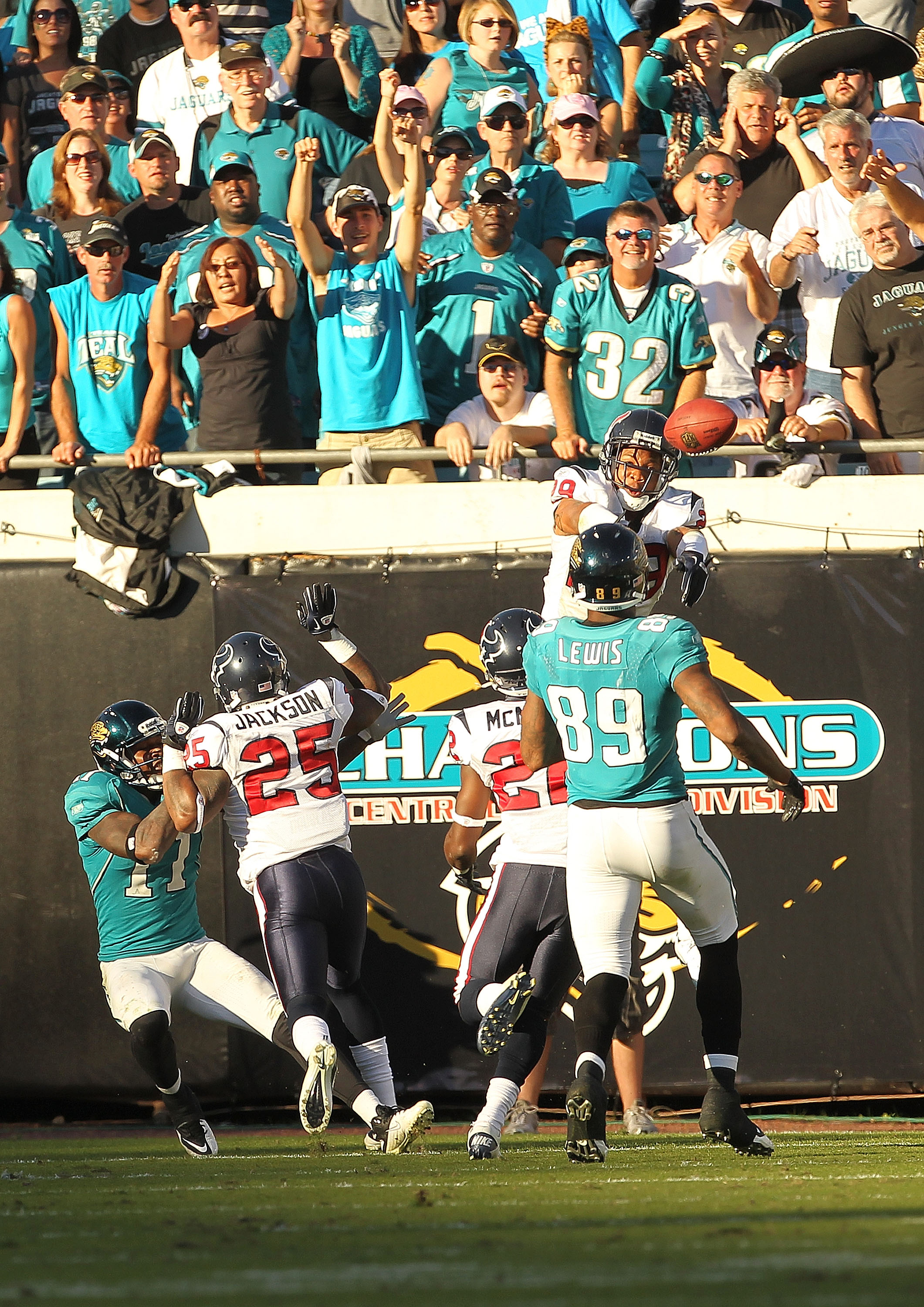JACKSONVILLE, FL - NOVEMBER 14:  Glover Quin #29 of the Houston Texans bats the ball away in the endzone where it was eventually caught for the winning touchdown during a game against the Jacksonville Jaguars at EverBank Field on November 14, 2010 in Jack